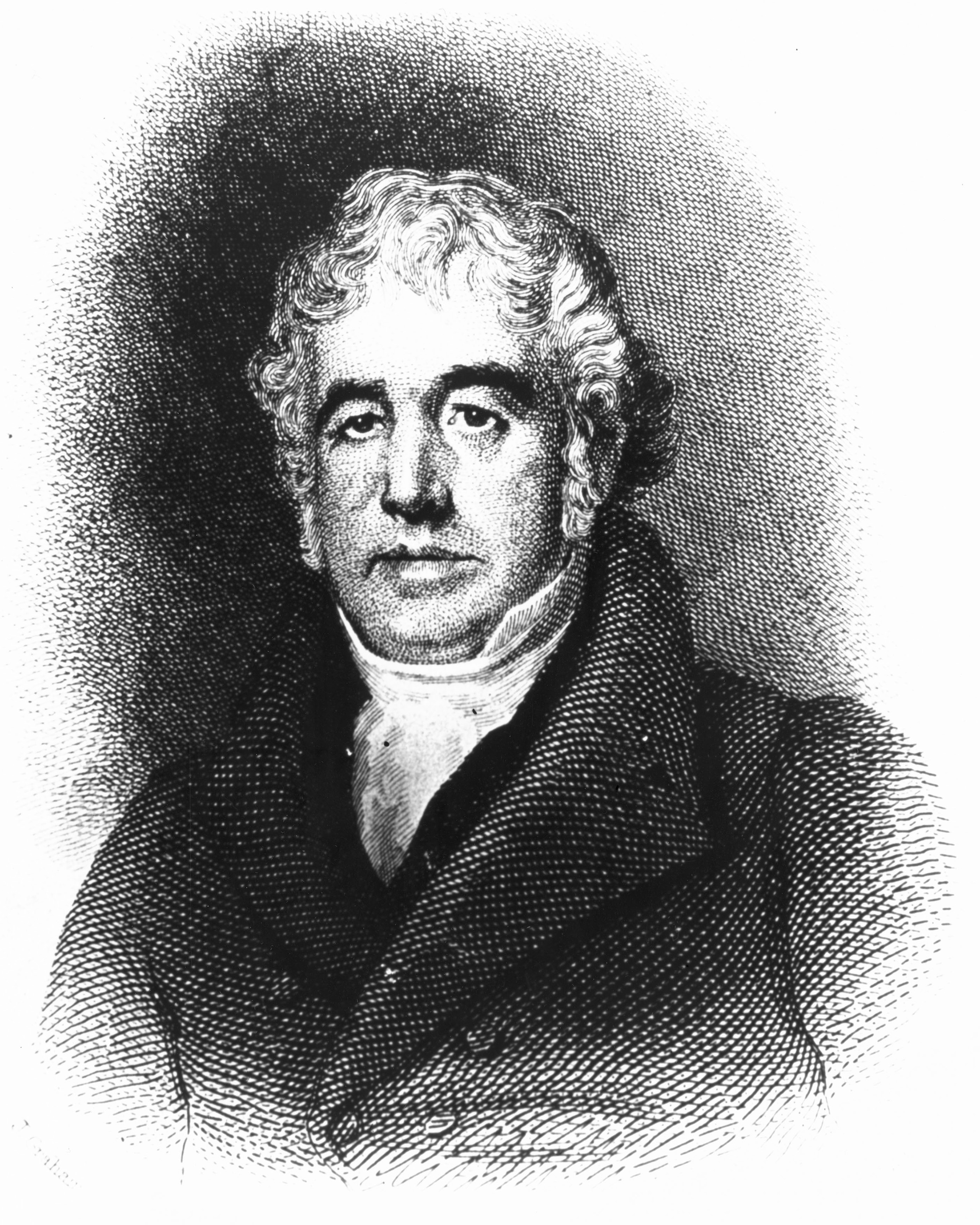 An engraving of Charlies Macintosh, who in 1823 successfully produced the first waterproof cloth when he bonded together two pieces of woolen cloth with a solution of dissolved india-rubber.