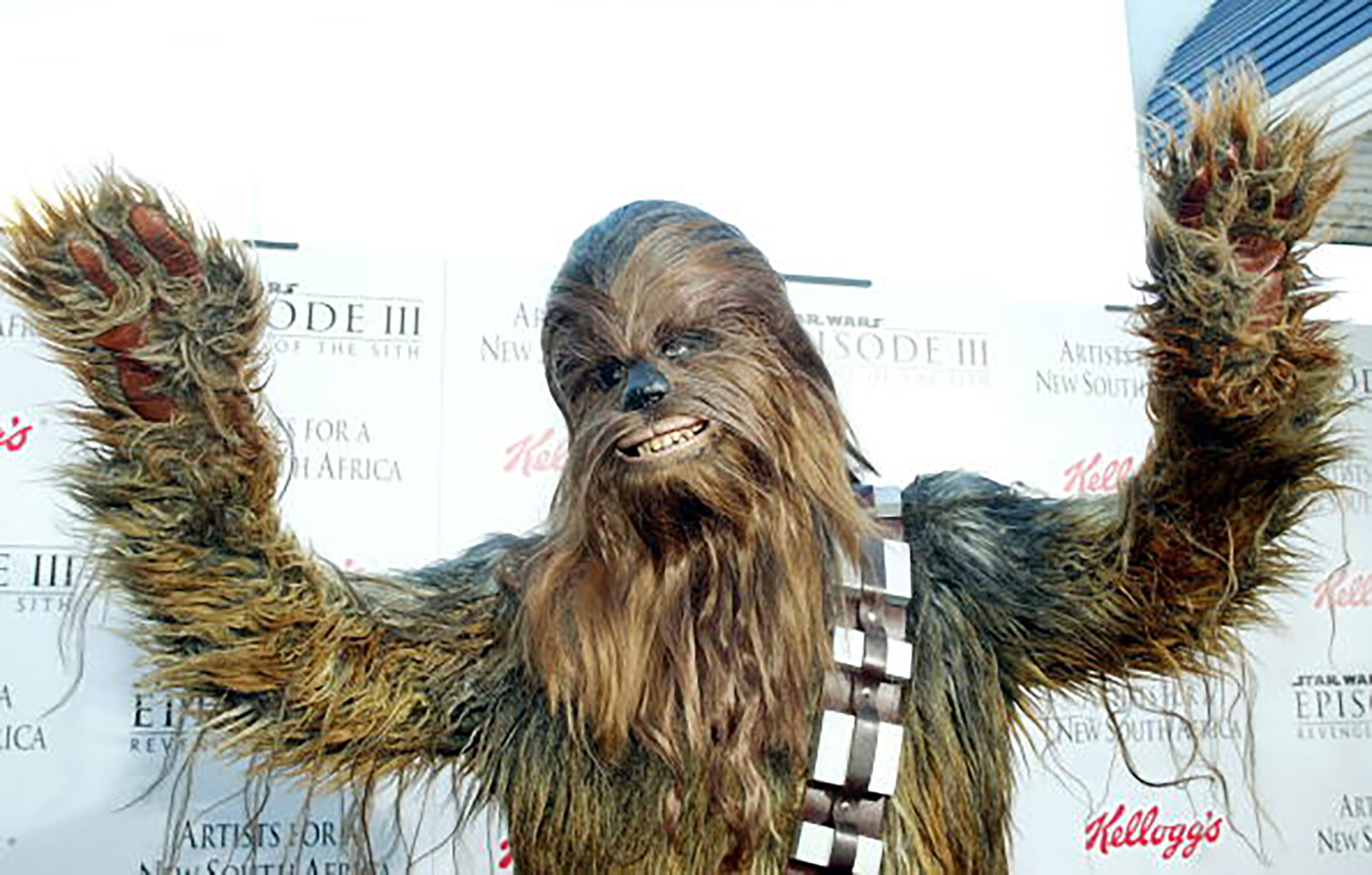 Chewbacca arrives at the  Star Wars Episode III - Revenge Of The Sith  Los Angeles Premiere at the Mann Village Theatre on May 12, 2005 in Westwood, California. (Photo by Frederick M. Brown/Getty Images)