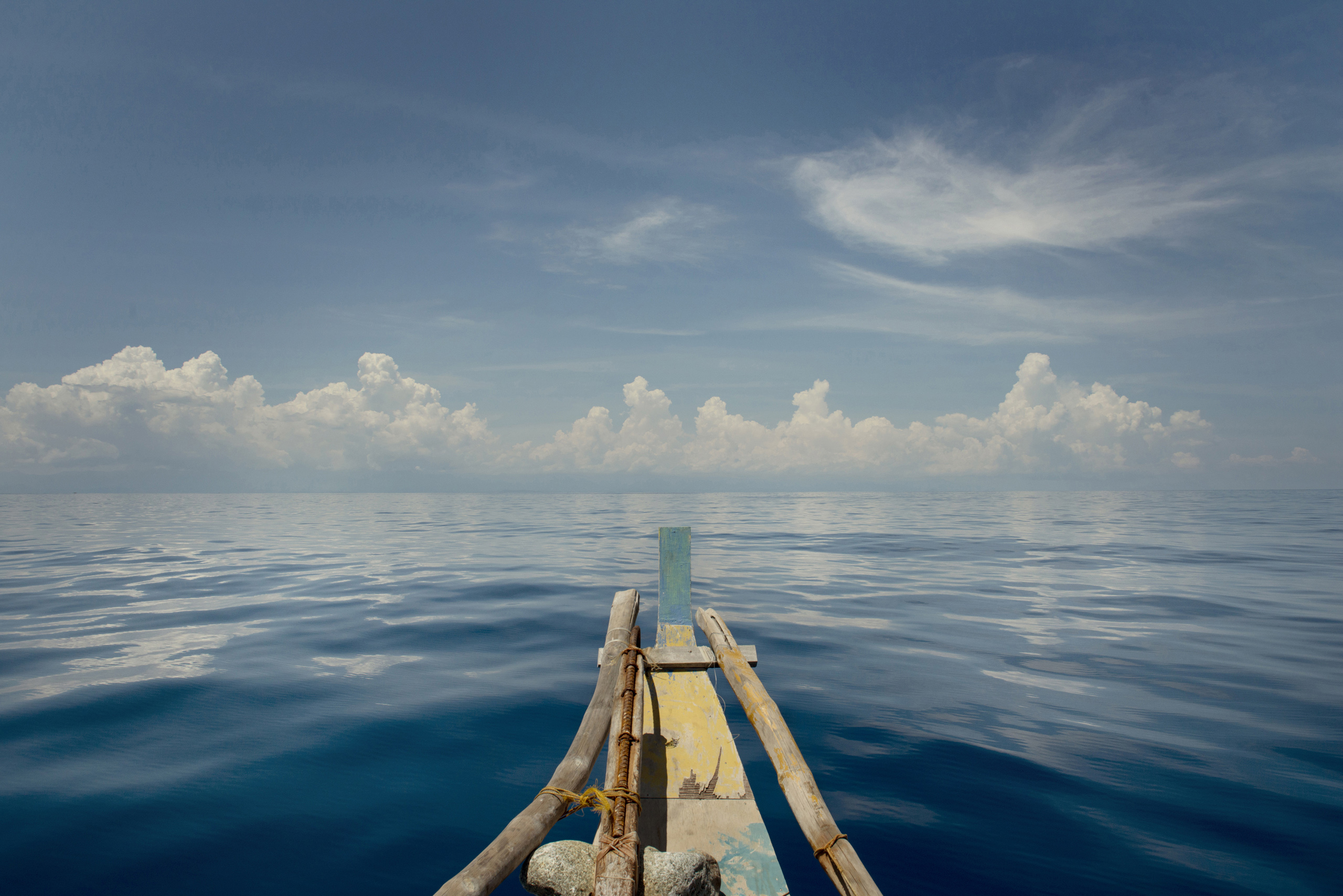 The  Wonder Boy  a 36-foot bamboo outrigger boat, on which TIME's East Asia bureau chief Hannah Beech and photographer Chiara Goia, made their voyage to the Spratly Islands in the South China Sea, May 10, 2016.From  Adrift in the South China Sea on a Boat Called 'Wonder Boy'