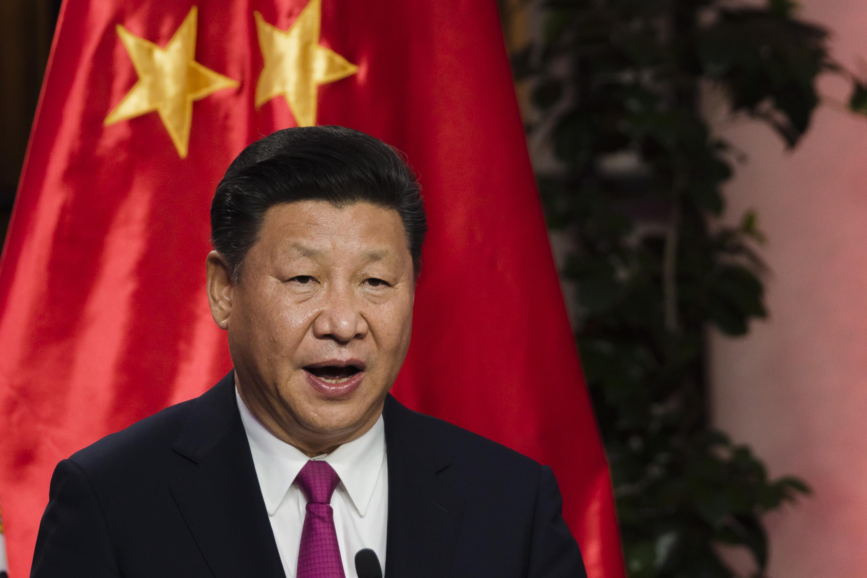 President of the People's Republic of China, Xi Jinping talks during a meeting in the Patio de Las Camelias at Palacio de La Moneda in Santiago, Chile, on Nov. 22, 2016.