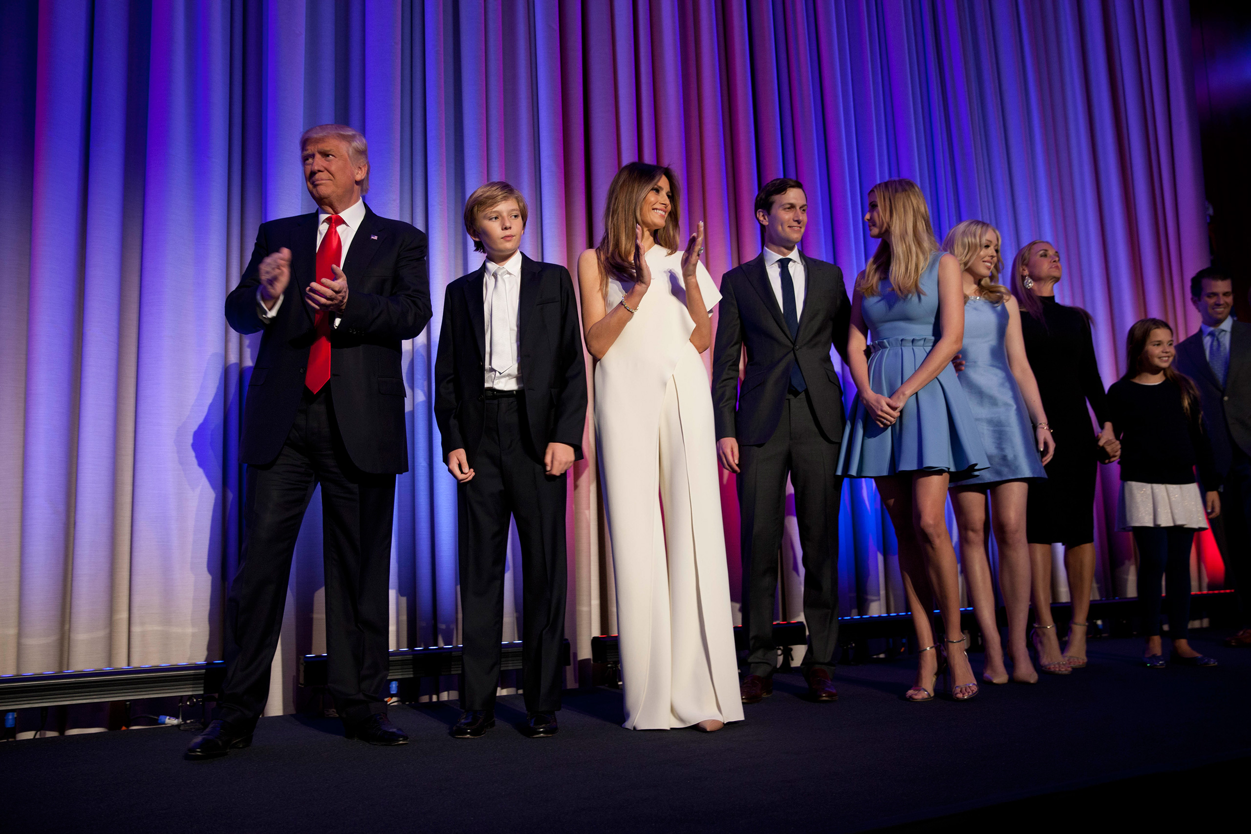 Trump arrives with his family to greet the crowd at his victory celebration in New York on Nov. 9, 2016.From  Message Delivered.  Nov. 21, 2016 issue.