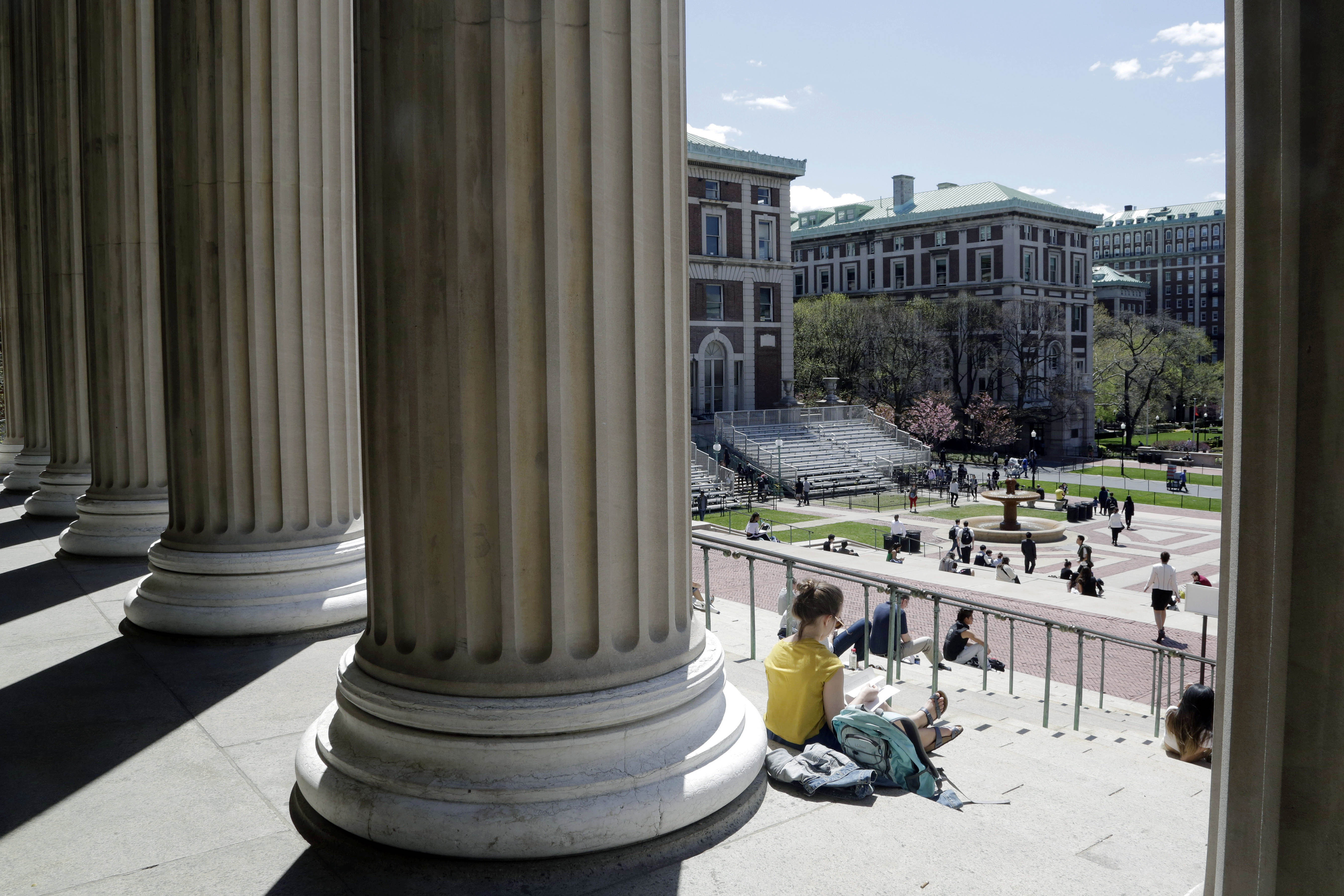 Students at Columbia University in New York, April 29, 2015.