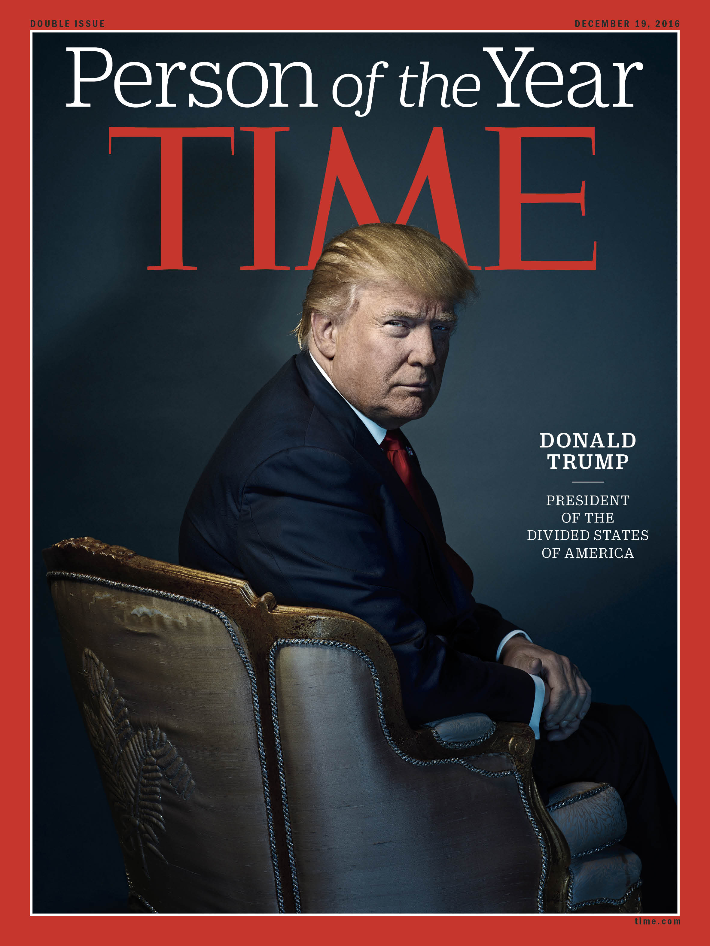 President-elect Donald Trump photographed at his penthouse on the 66th floor of Trump Tower in New York City on Nov. 28.                                                    Behind TIME's Person of the Year cover