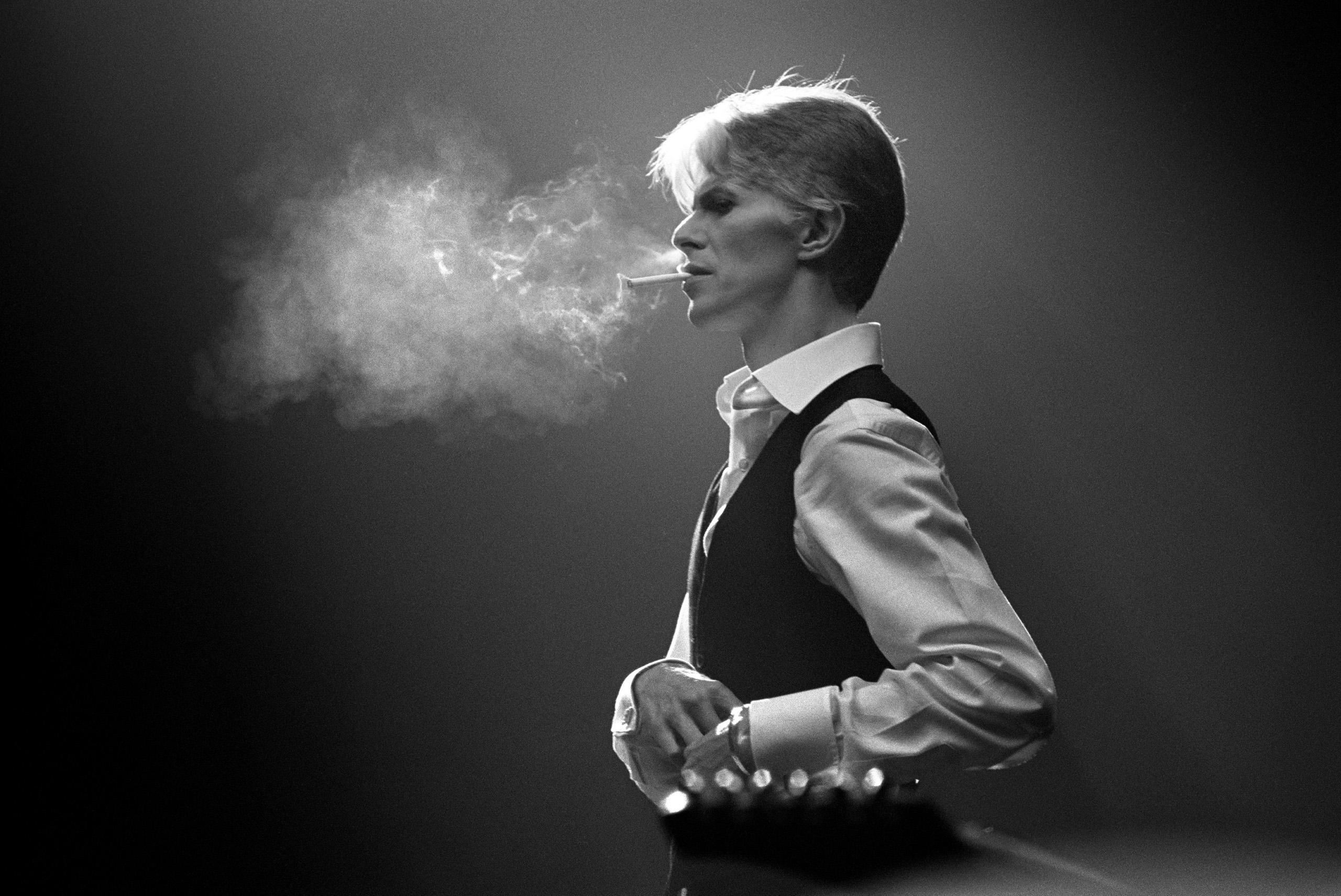 Bowie's Thin White Duke persona, smoking a Gitanes cigarette,1976.