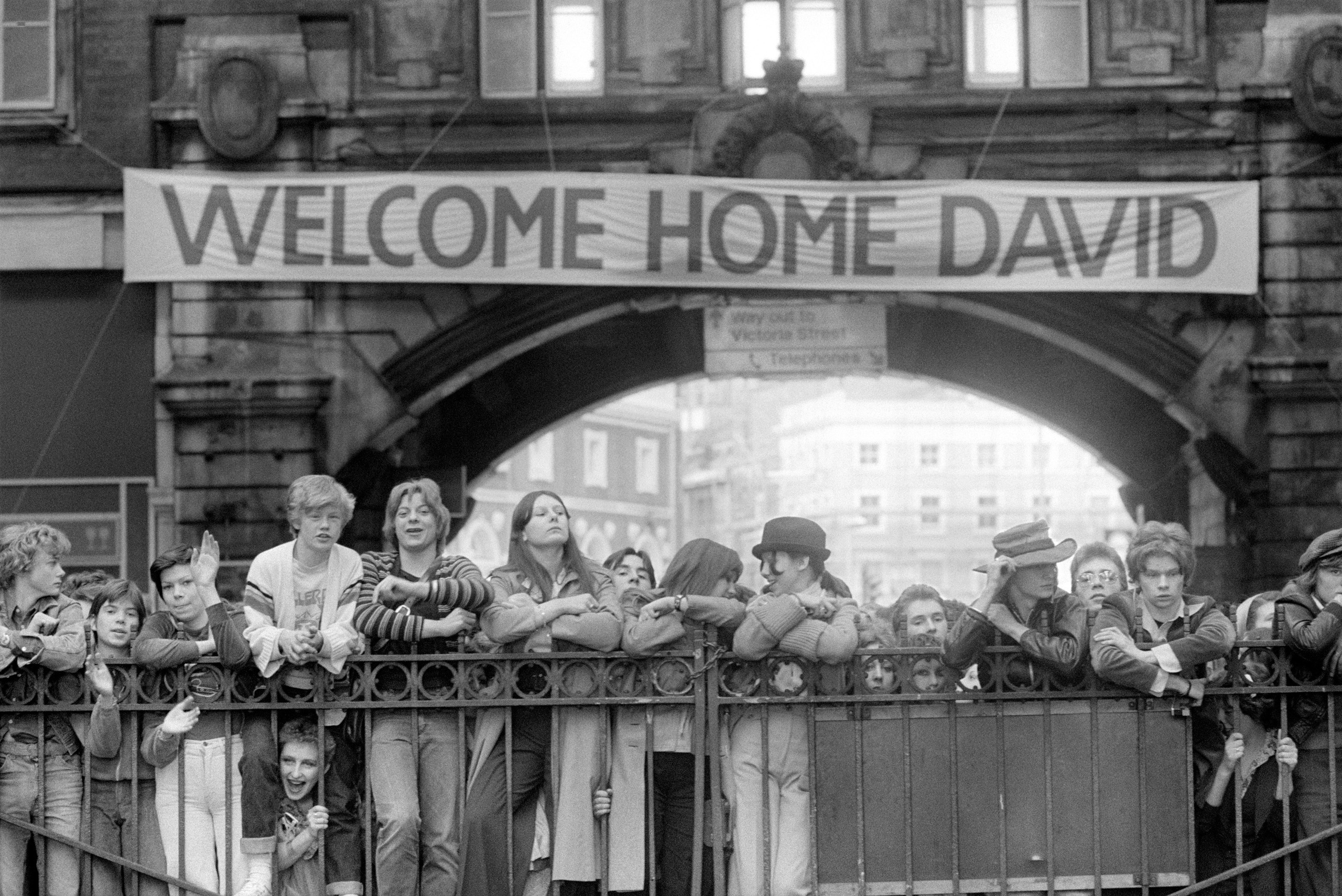 Hundreds of dedicated fans waited for hours anticipating Bowie's arrival into Victoria Station, London, U.K.