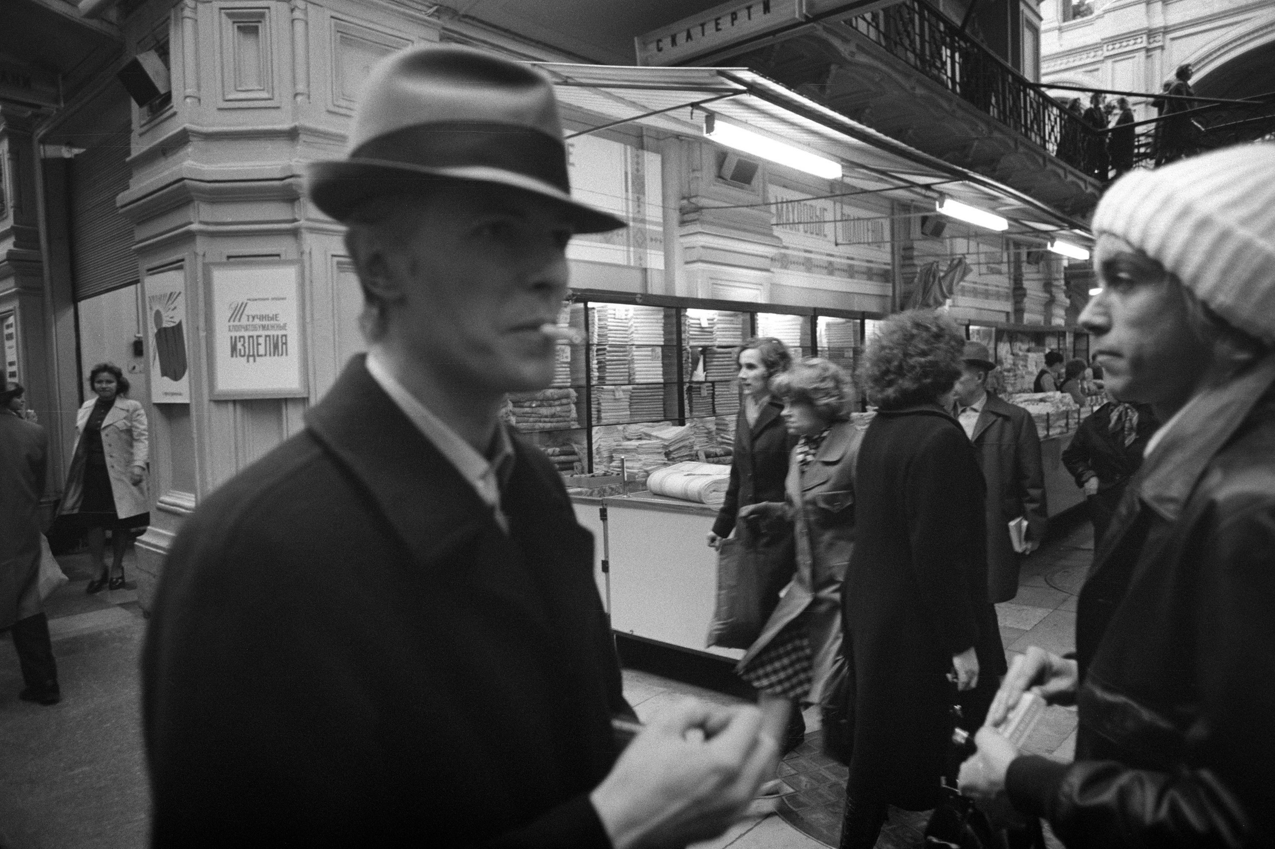 Bowie and Iggy Pop as they make their way unnoticed through a market off Moscow's Red Square, 1976.