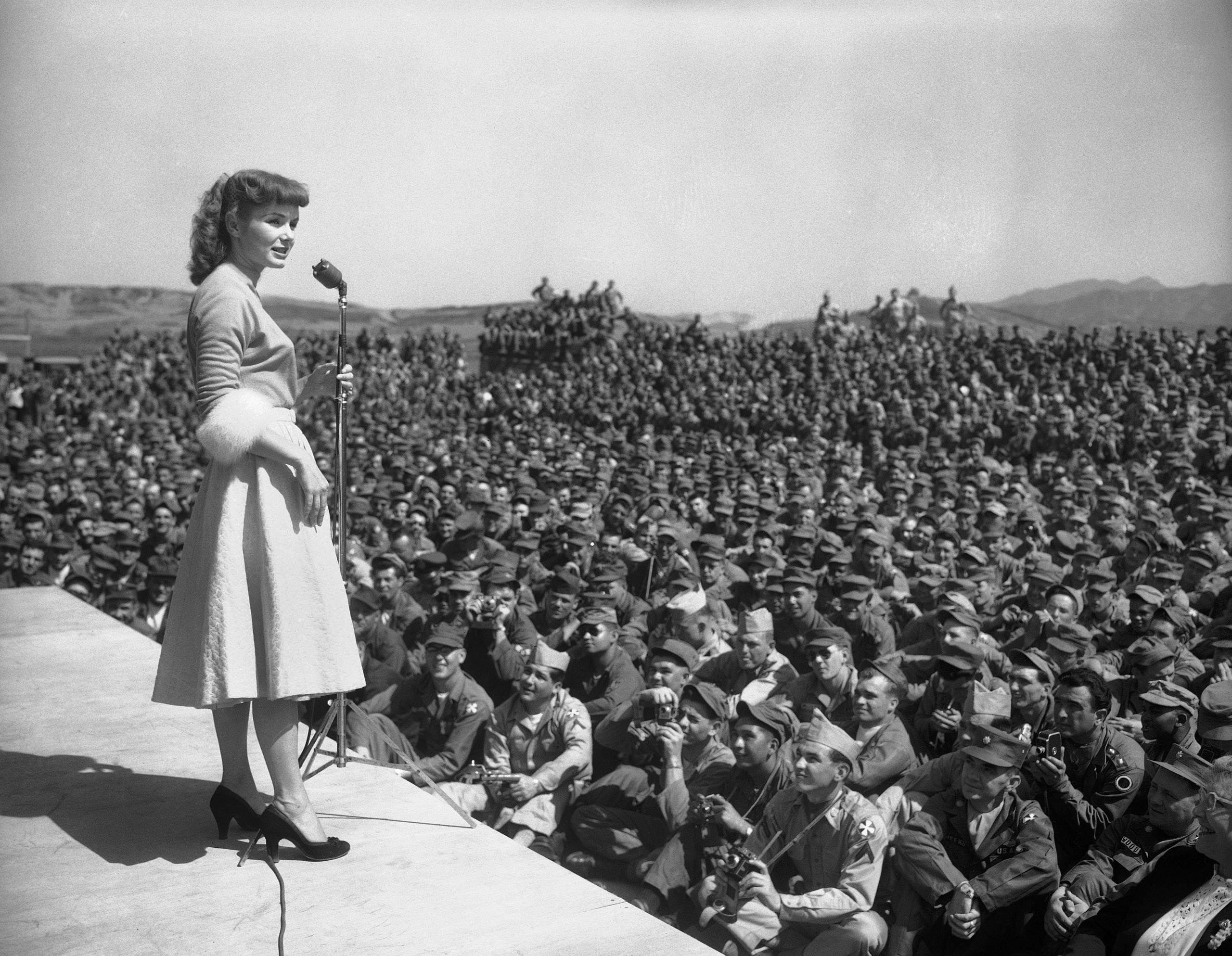 Debbie Reynolds entertains at the 8th Army headquarters in Seoul, South Korea. Reynolds, May 22, 1955.