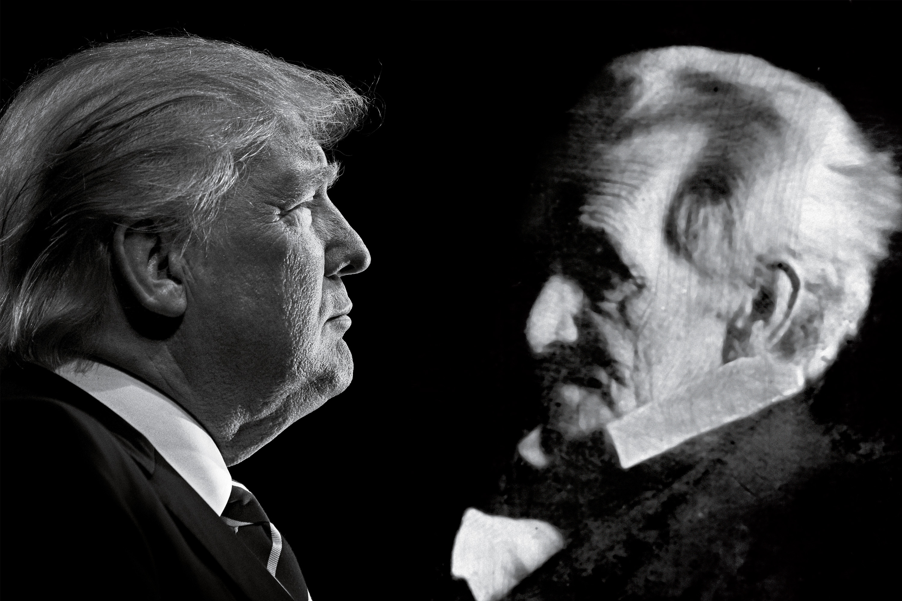 This combination photo shows President-elect Donald Trump and former U.S. President Andrew Jackson.