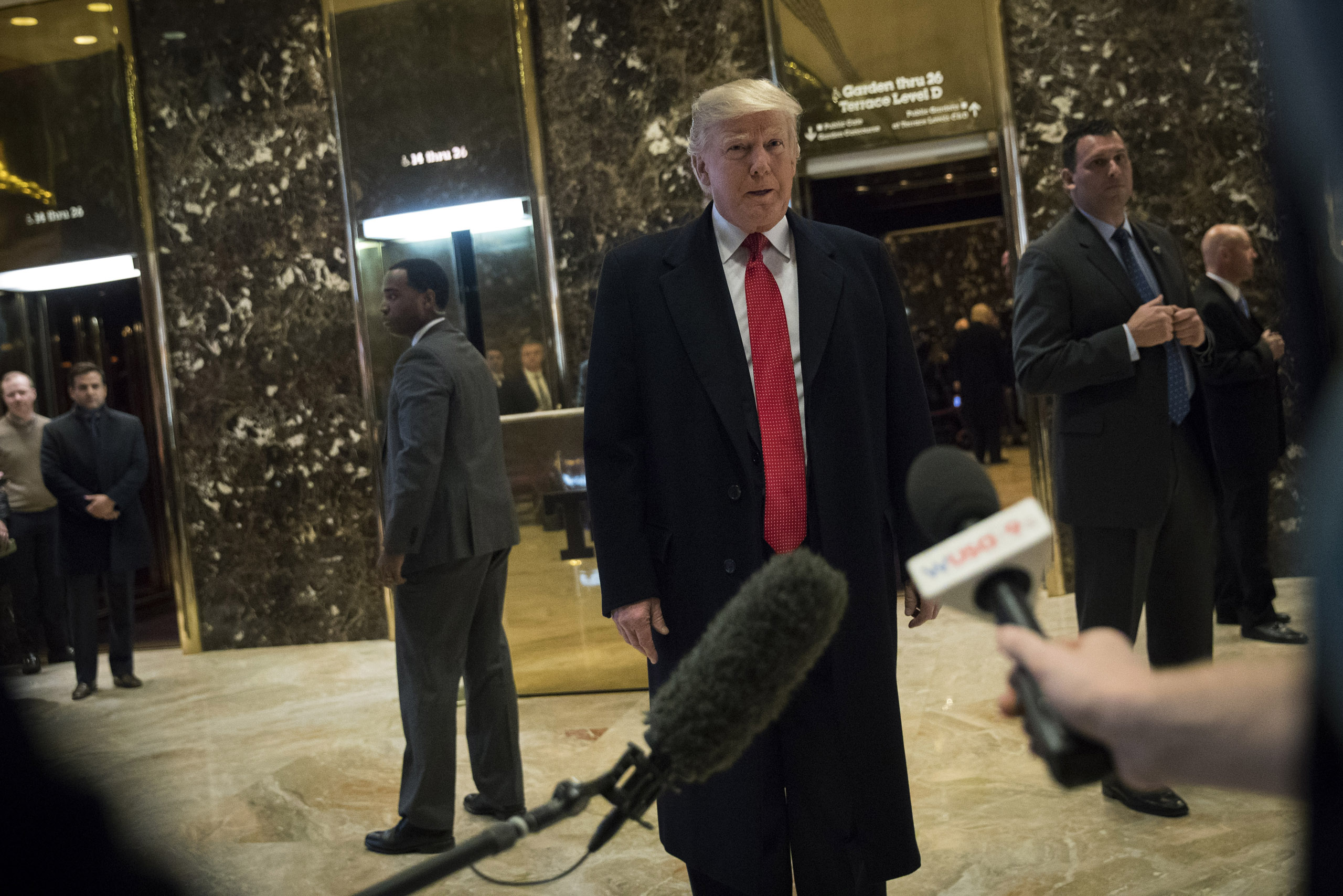 President-elect Donald Trump speaks to reporters at Trump Tower on Dec. 6, 2016.
