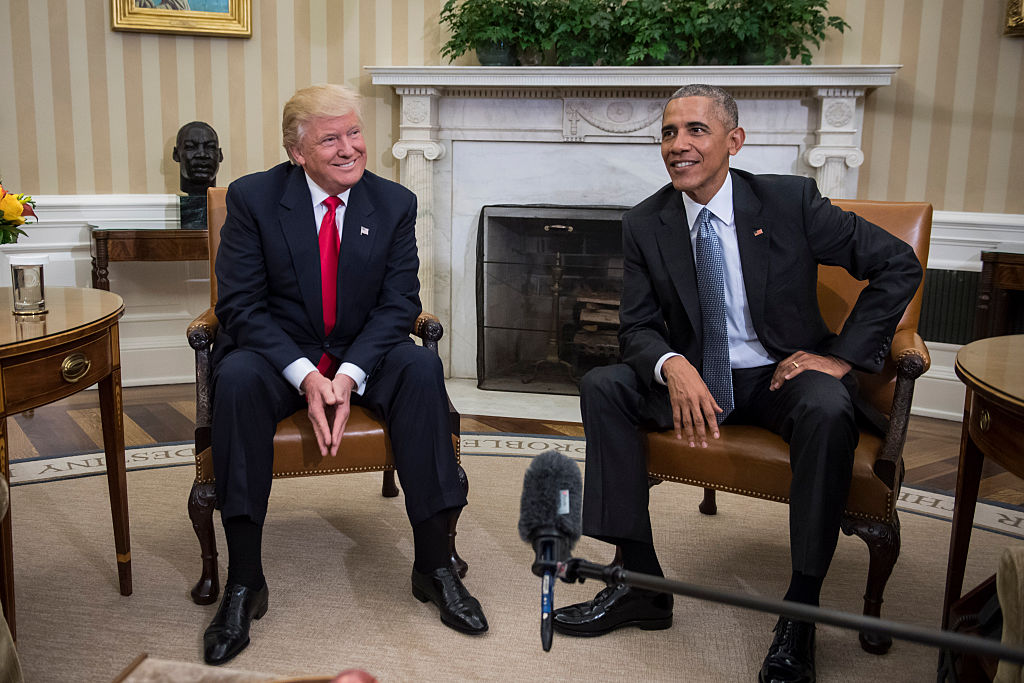 President Barack Obama and President-elect Donald Trump talk to members of the media during a meeting in the Oval Office of the White House in Washington on Nov. 10, 2016.