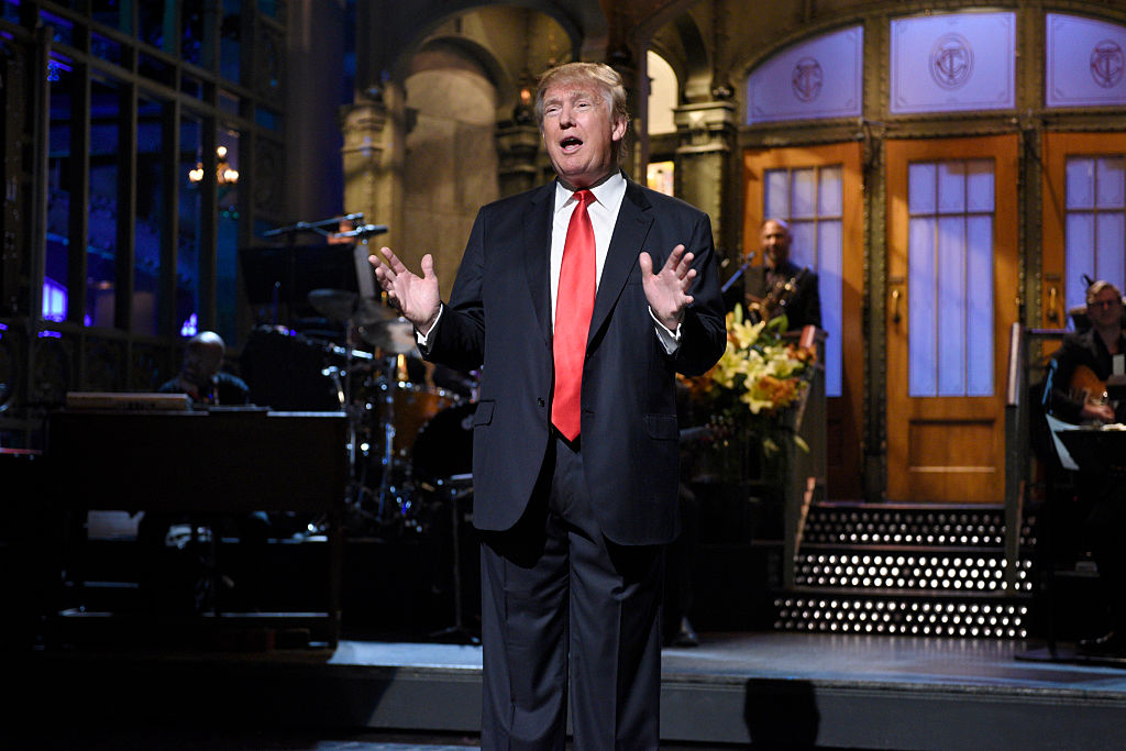 Donald Trump on  Saturday Night Live  during the monologue on Nov. 7, 2015.
