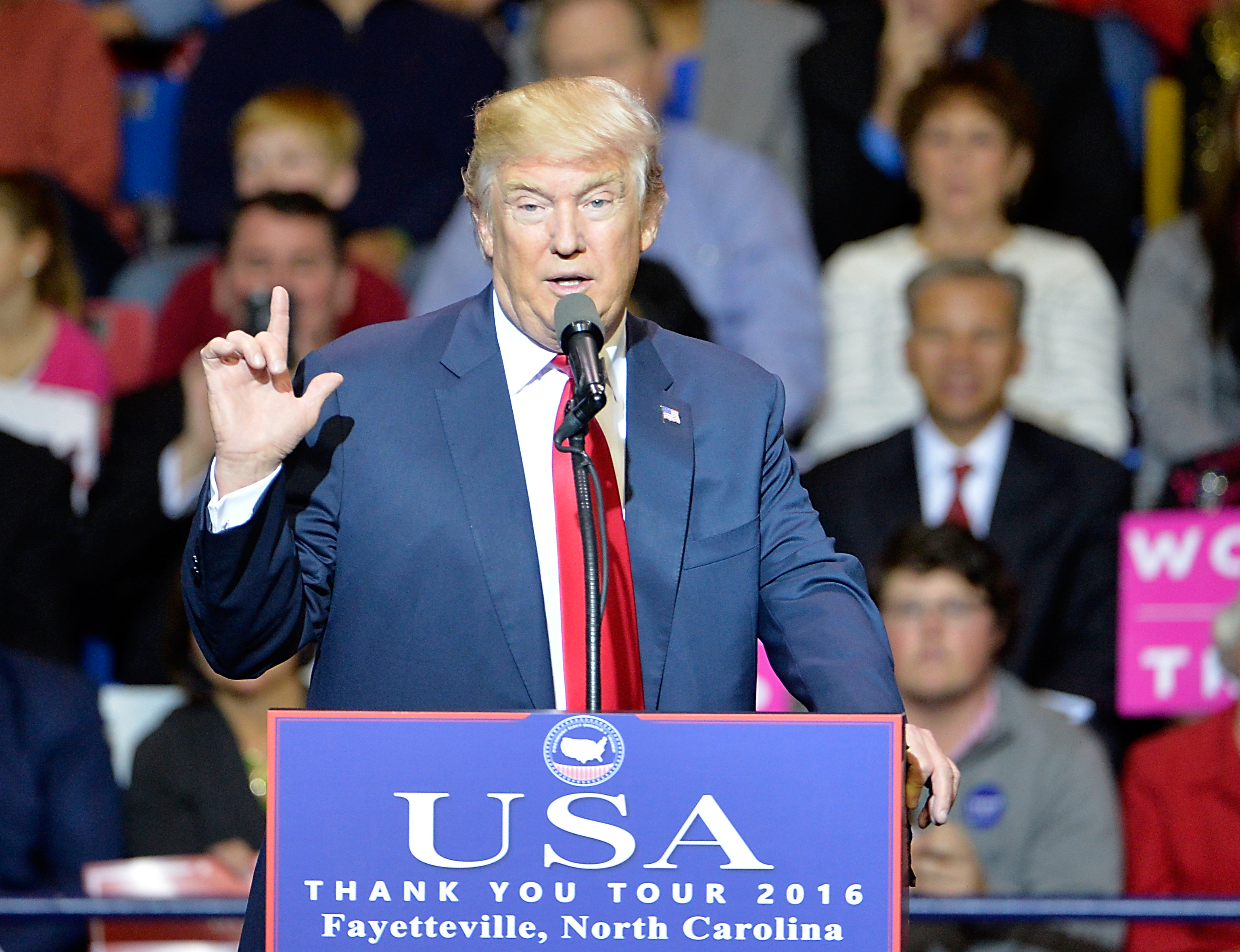 President-elect Donald Trump addresses an audience at Crown Coliseum on December 6, 2016 in Fayetteville, North Carolina.