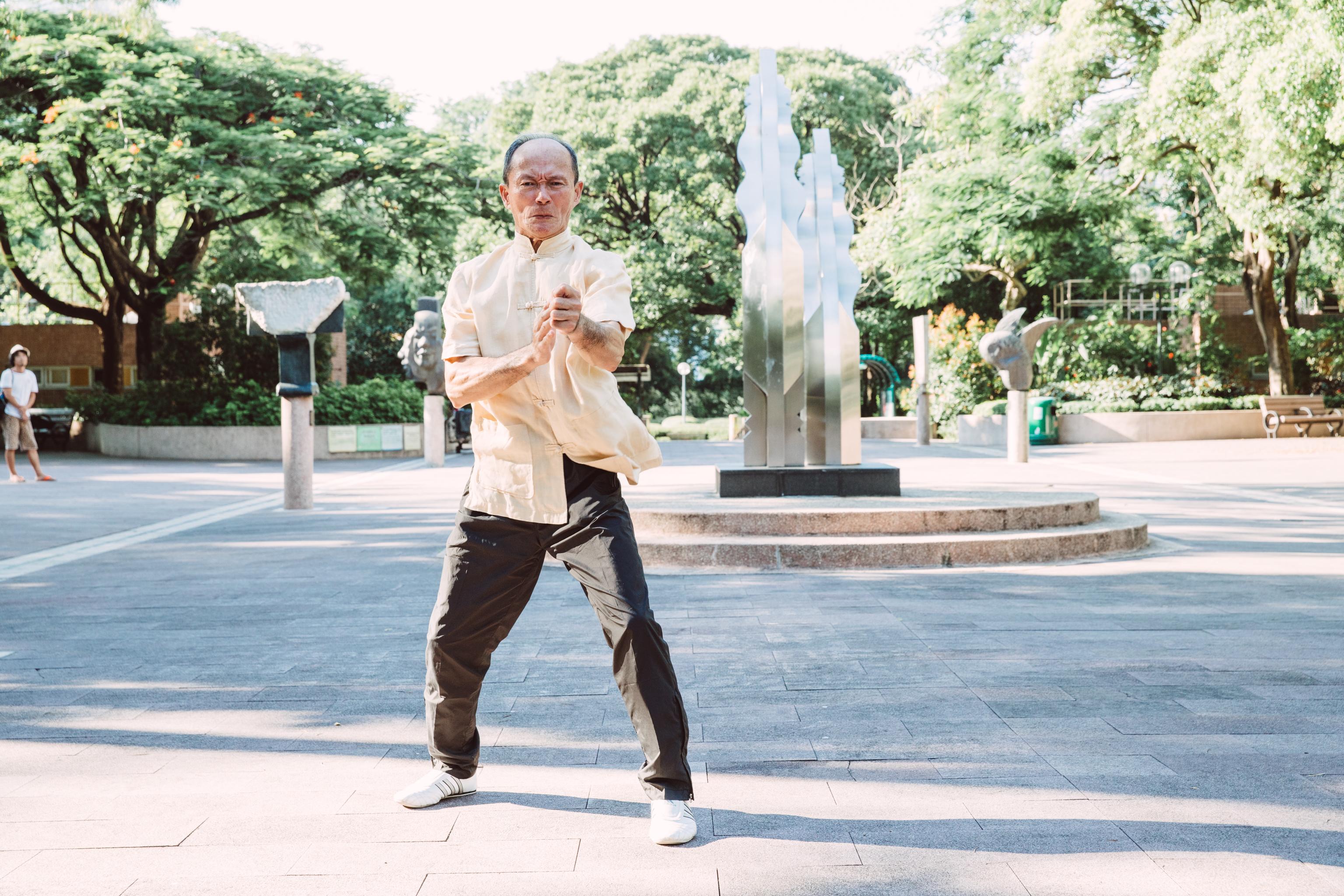 Chow Ka Southern Praying Mantis Master Li Tin-loy performs a set at a park in Hong Kong in 2016.