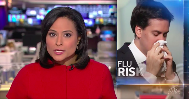 Ed Miliband is pictured sneezing on NBC Nightly News, Dec. 18.
