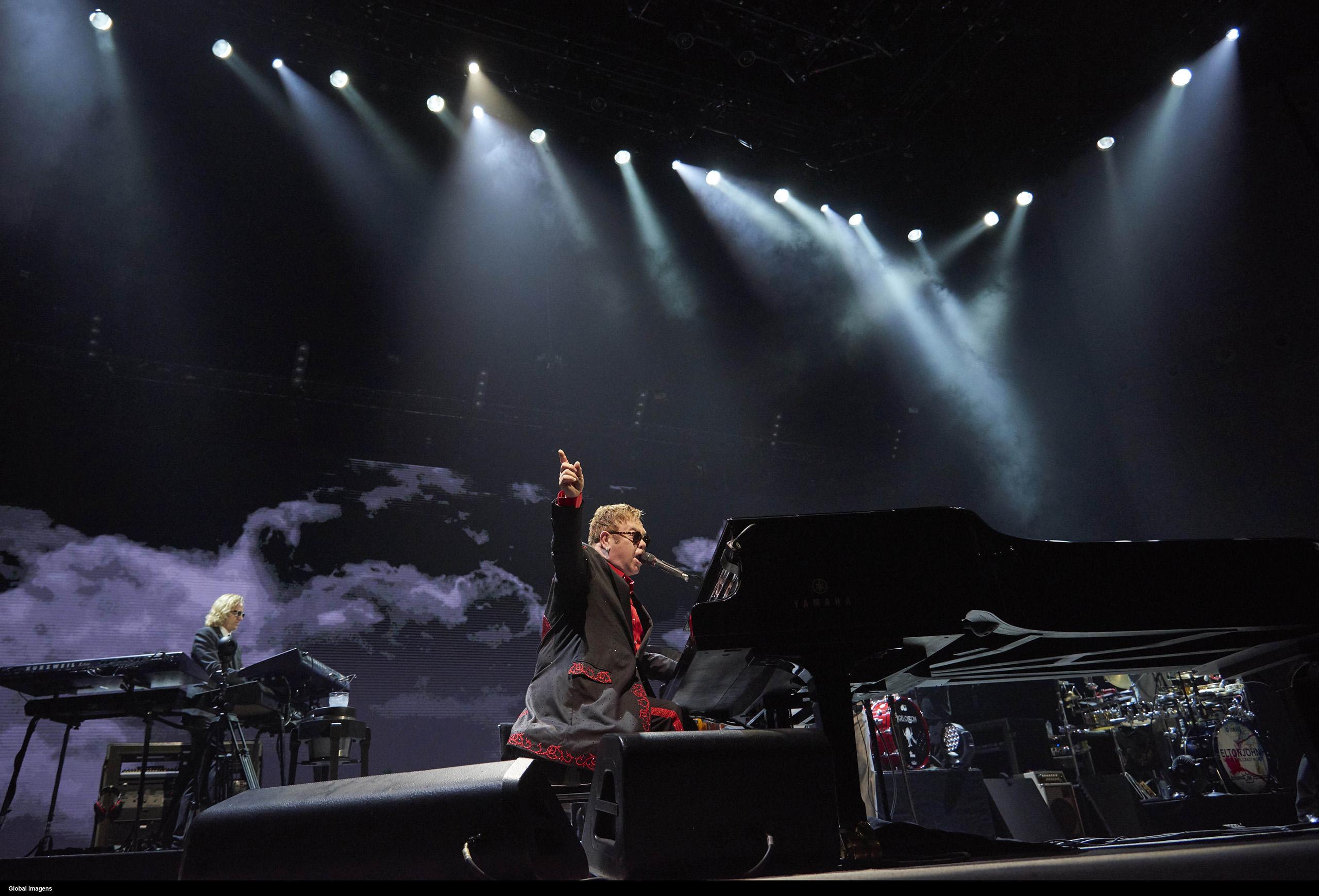 Elton John in concert in Meo Arena in Lisbon, Portugal on Dec. 11, 2016.