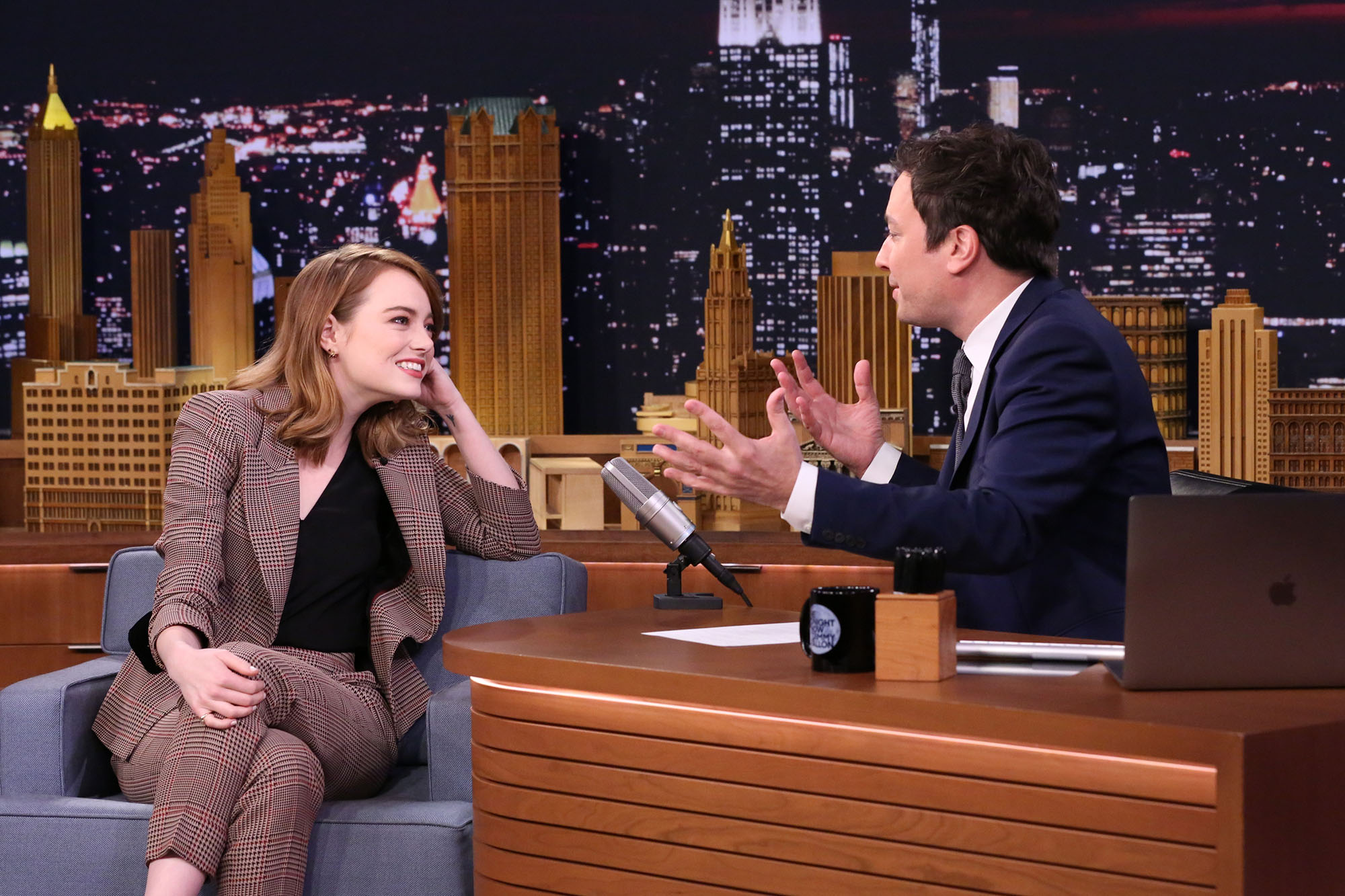 Emma Stone during an interview with 'The Tonight Show' host Jimmy Fallon on December 01, 2016 -- (Photo by: Andrew Lipovsky/NBC/NBCU Photo Bank via Getty Images)