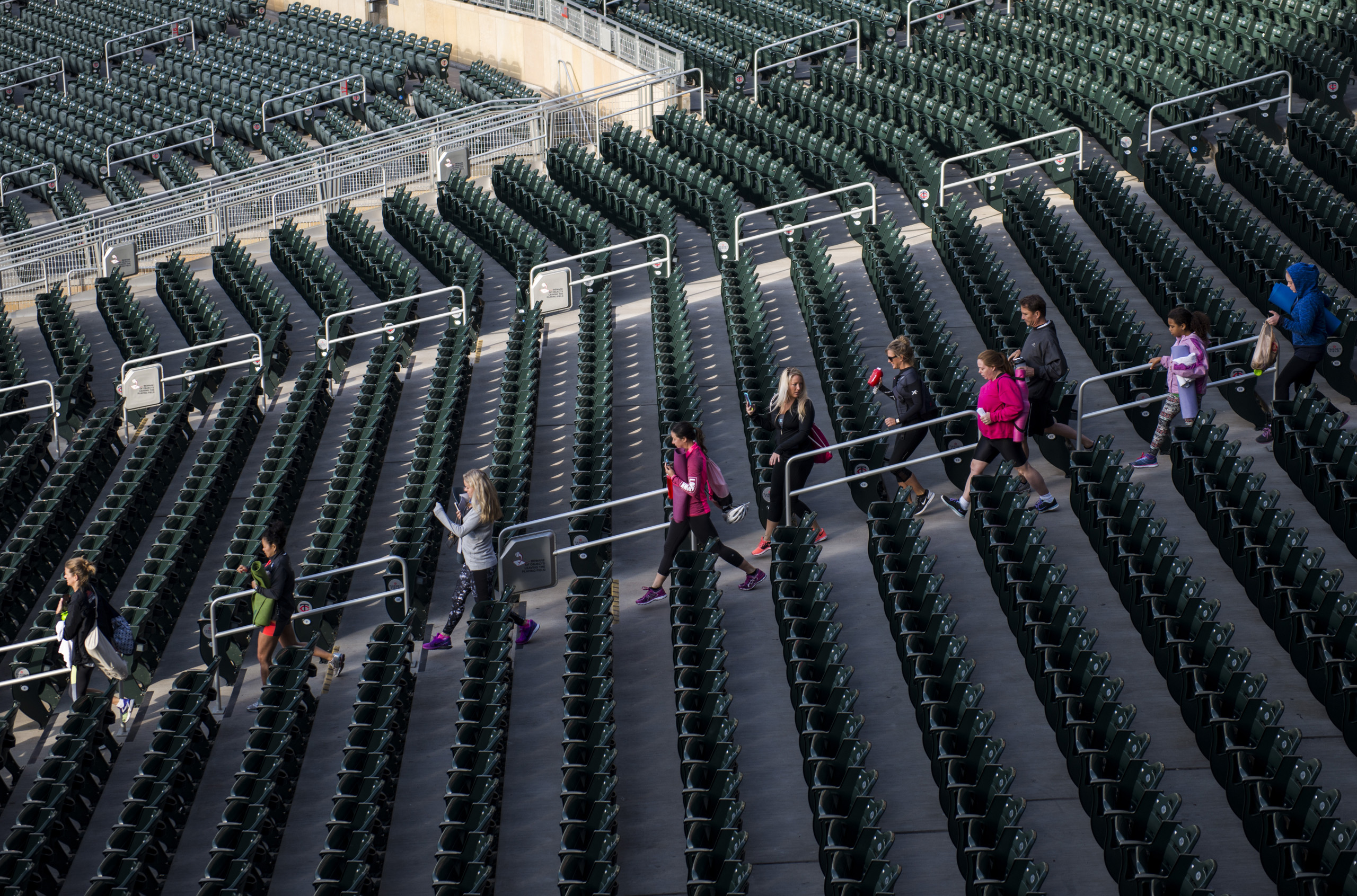 Attendees file into the Fitbit Local Minneapolis event at Target Field on October 1, 2016.