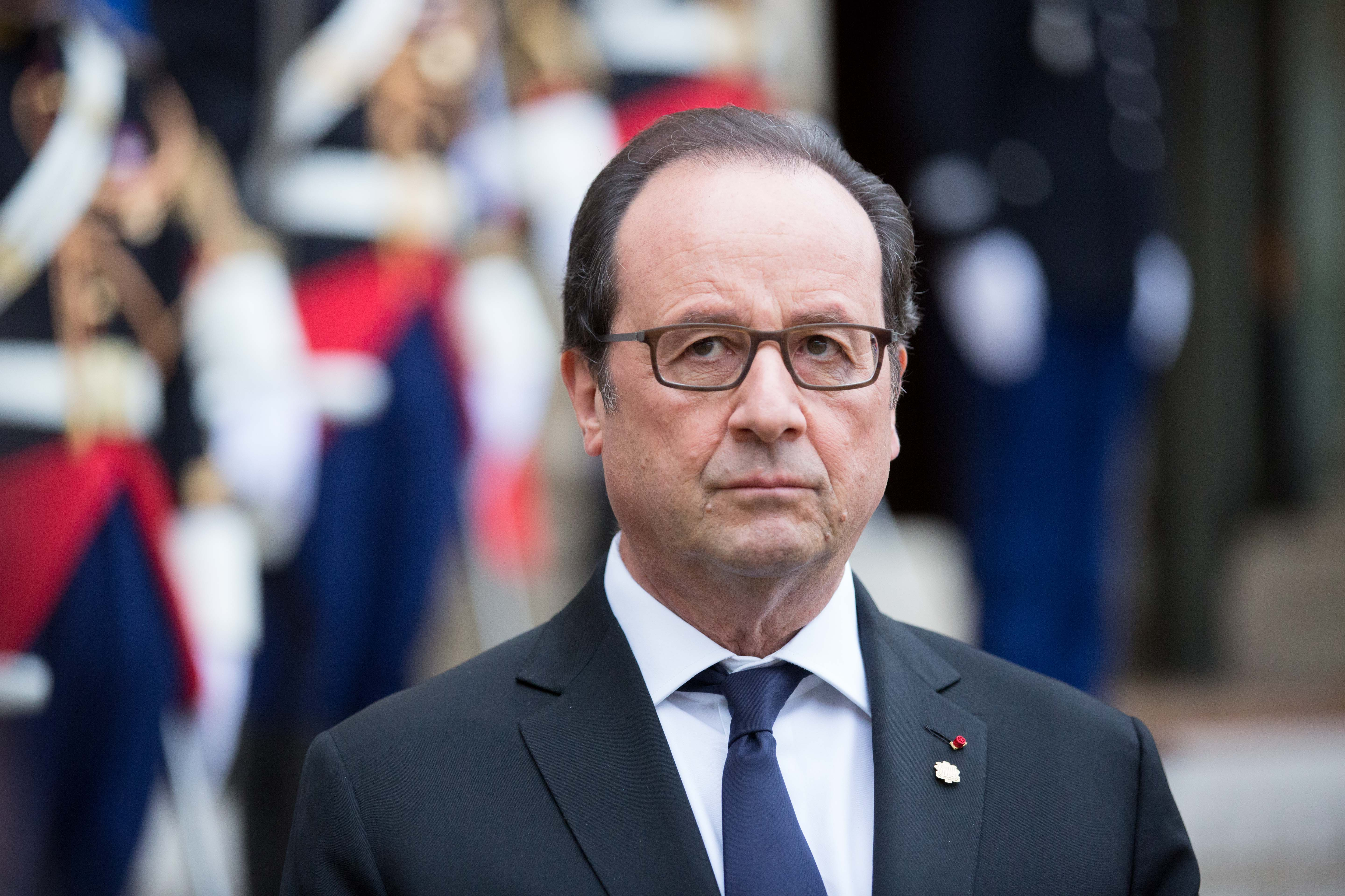 French President Francois Hollande receives the Head of Andorra Principality Government, Antoni Marti Petit and President of Parliament of the Principality of Andorra, Vicenc Mateu Zamora for a meeting and a statement to the media at the Elysee Palace on October 25, 2016 in Paris, France.