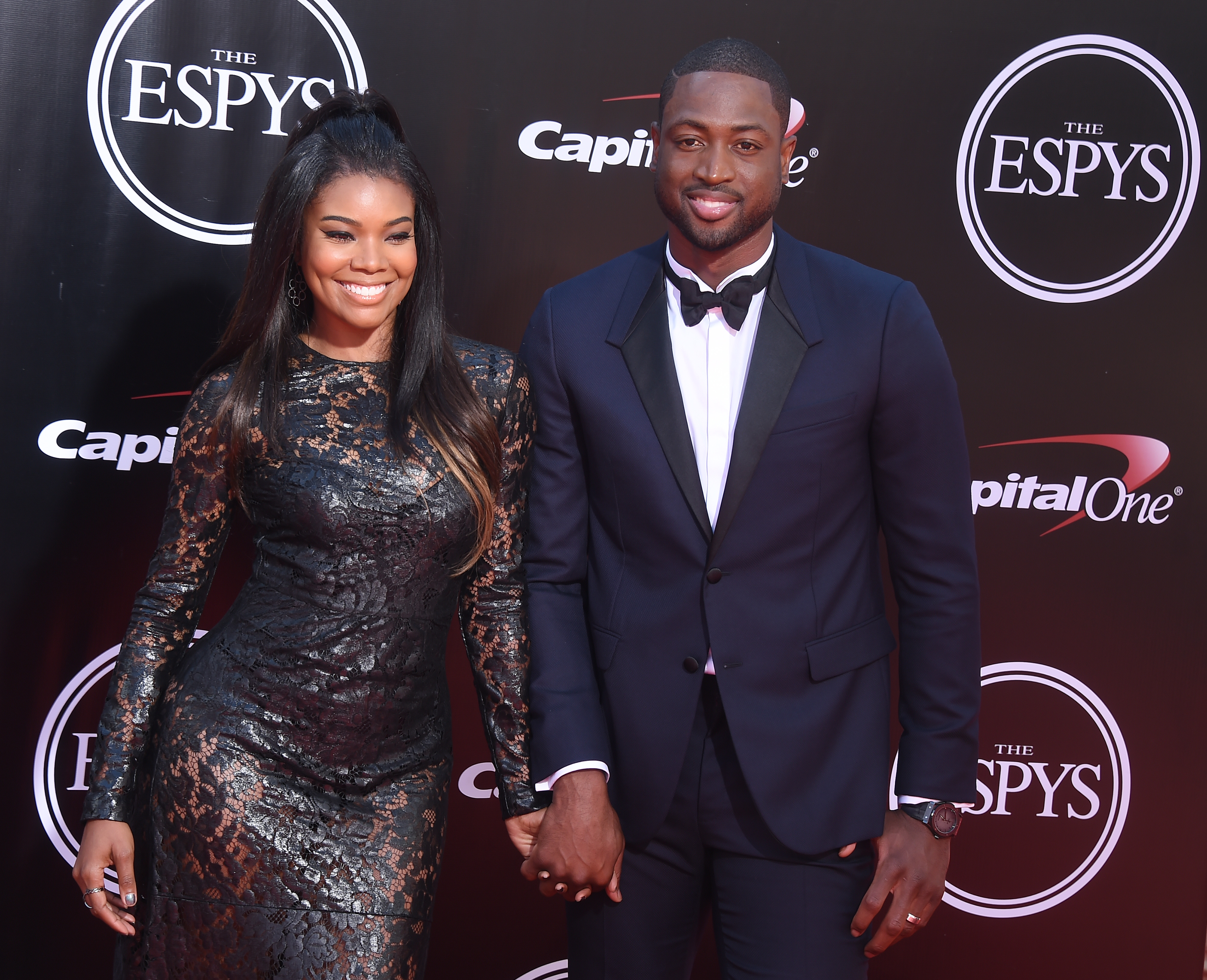 LOS ANGELES, CA - JULY 13:  Actress Gabrielle Union and NBA player Dwyane Wade arrive at The 2016 ESPYS at Microsoft Theater on July 13, 2016 in Los Angeles, California.  (Photo by Gregg DeGuire/WireImage)
