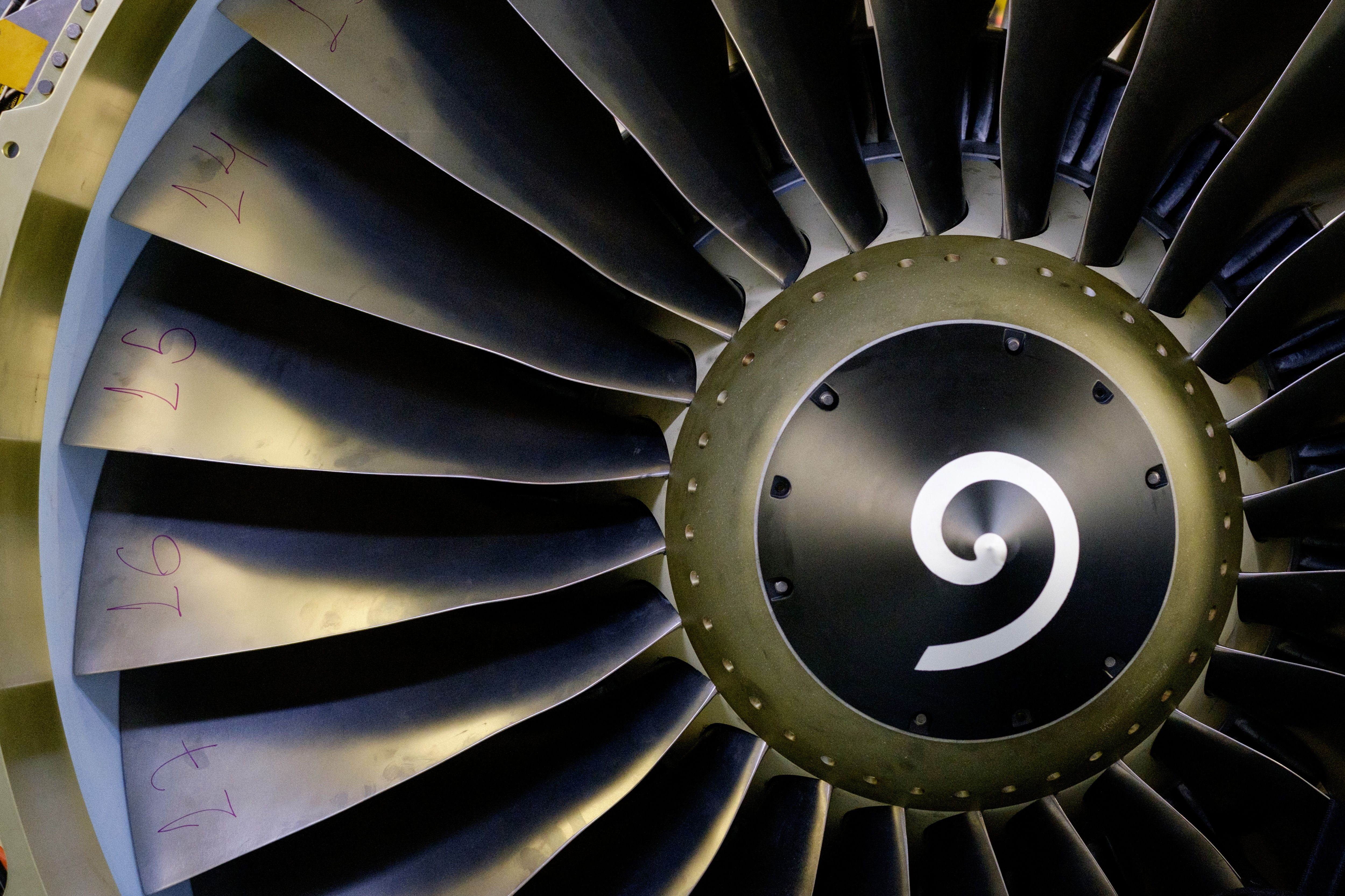 View of a jet engine at General Electric Celma, GE's aviation engine overhaul facility in Petropolis, Rio de Janeiro, Brazil on June 8, 2016.