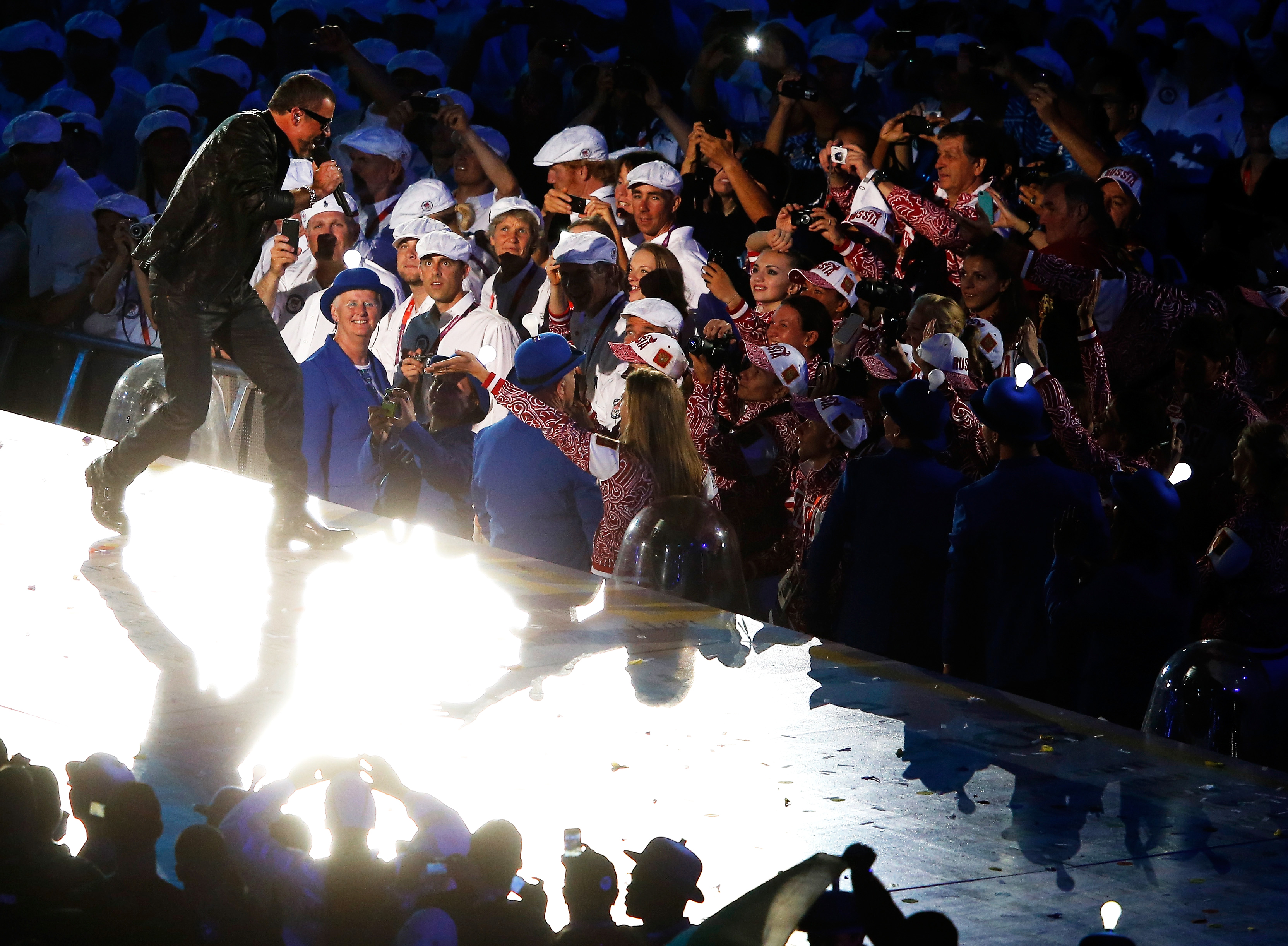 George Michael performs during the Closing Ceremony on Day 16 of the 2012 Olympic Games at Olympic Stadium in London, on Aug. 12, 2012.