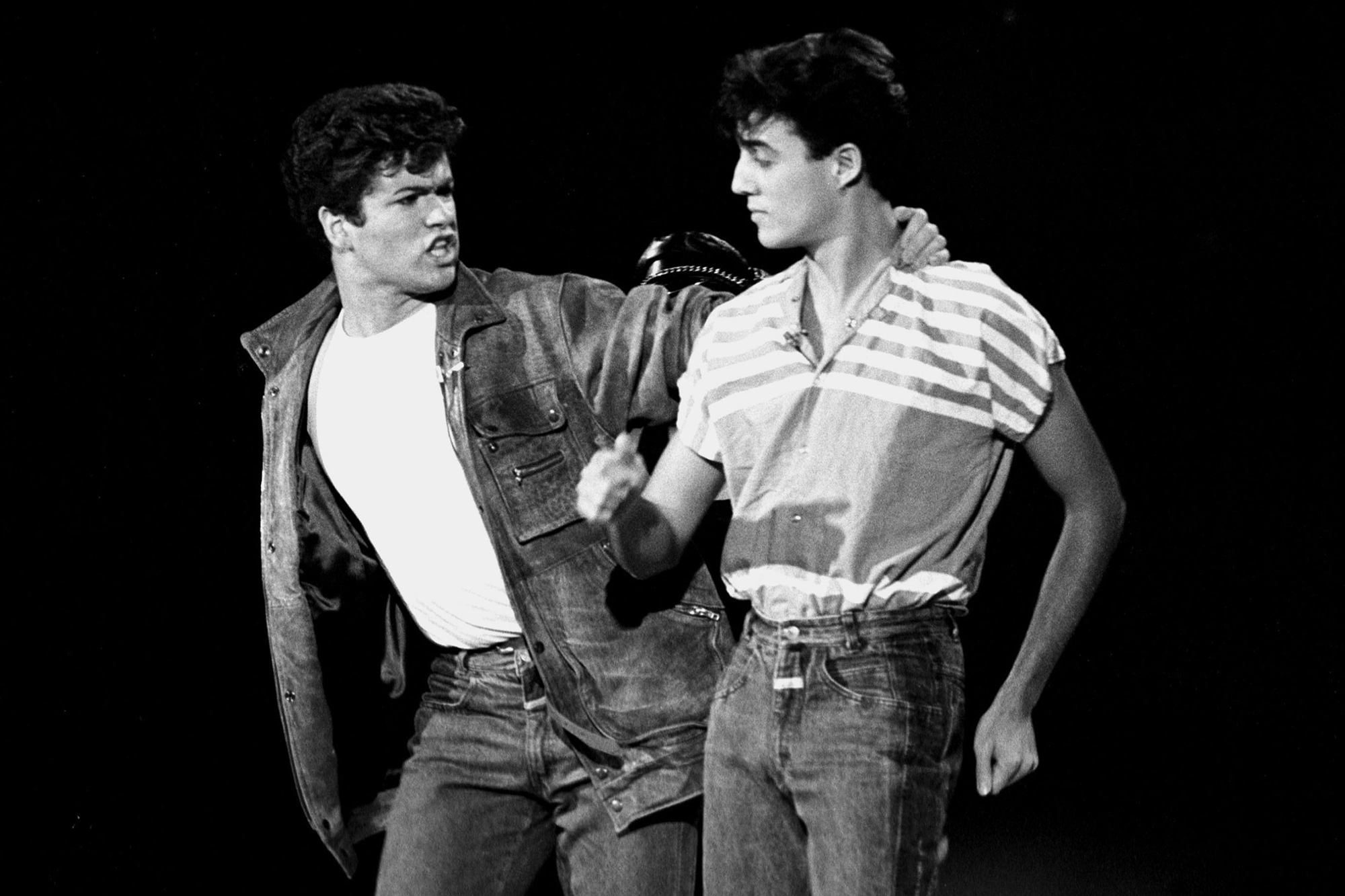 George Michael and Andrew Ridgeley of Wham! perform on Solid Gold during their first American television appearance, on Nov. 12, 1982.