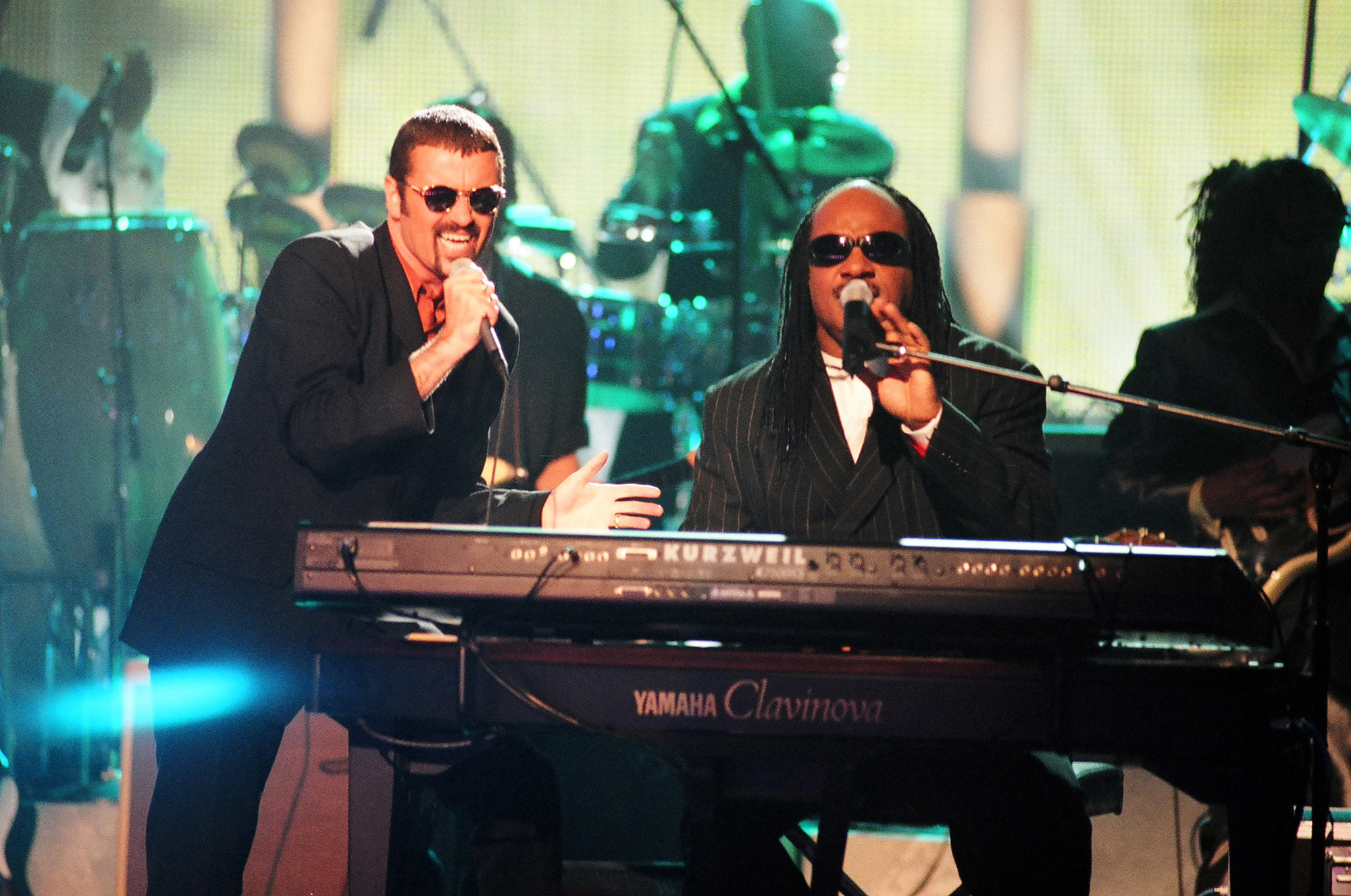 George Michael and Stevie Wonder perform during the 1997 VH1 Honors in Los Angeles, on Sept. 6, 1997.