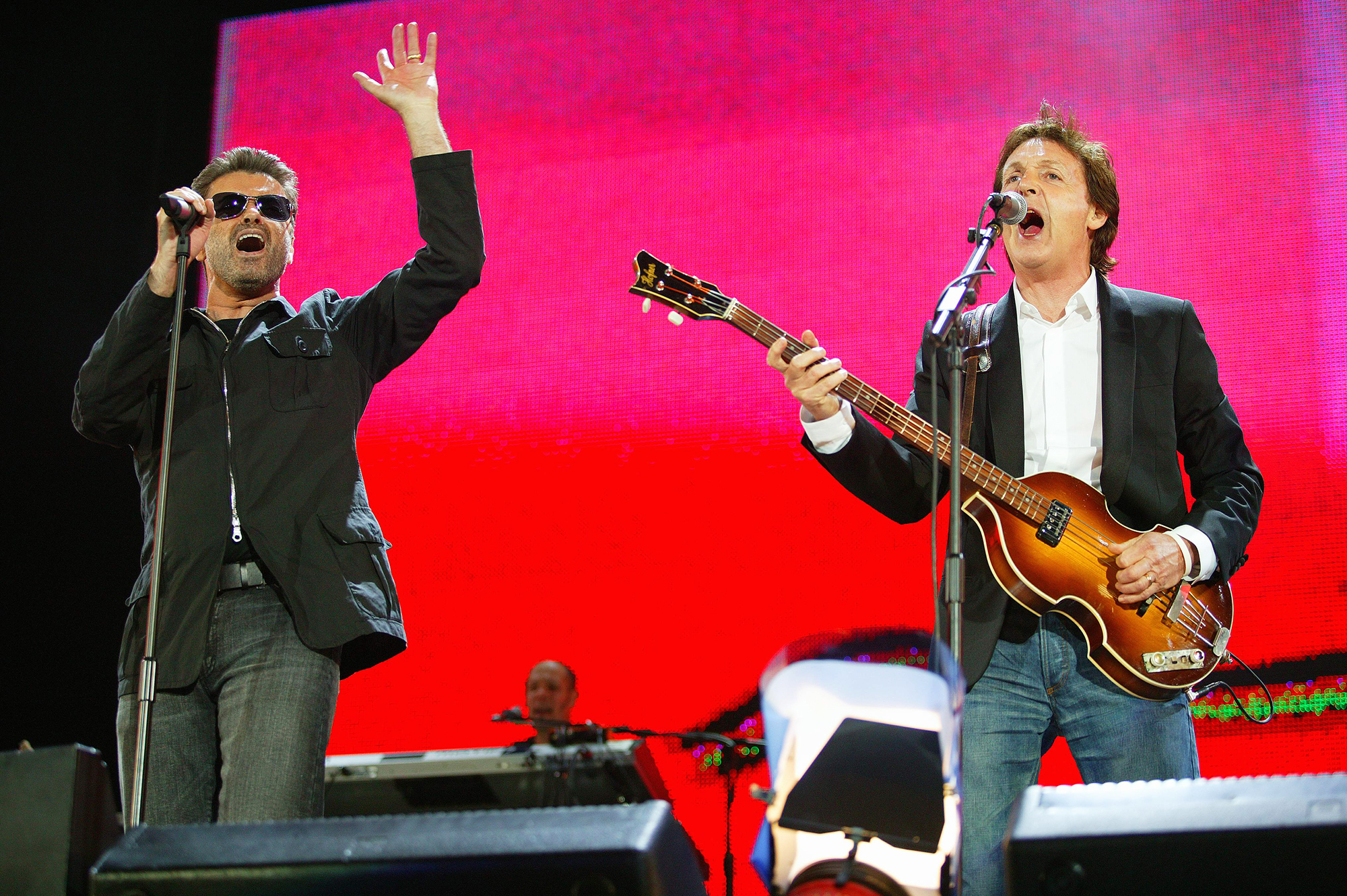George Michael and Paul McCartney perform at Live 8 in London, on July 2, 2005.