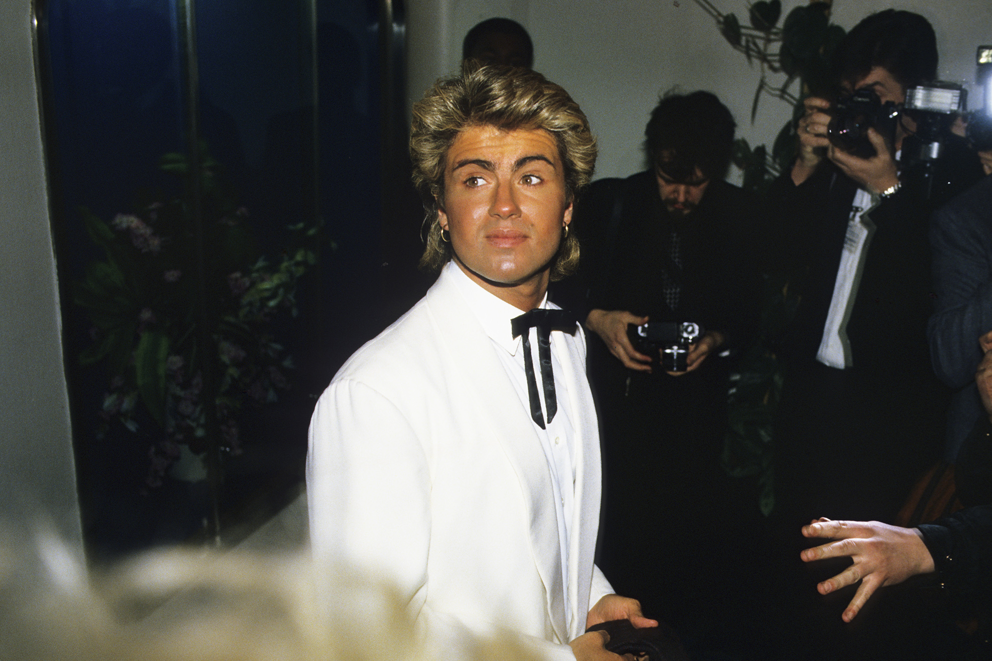 George Michael attends the BRIT Awards in London, on Feb. 11, 1985.