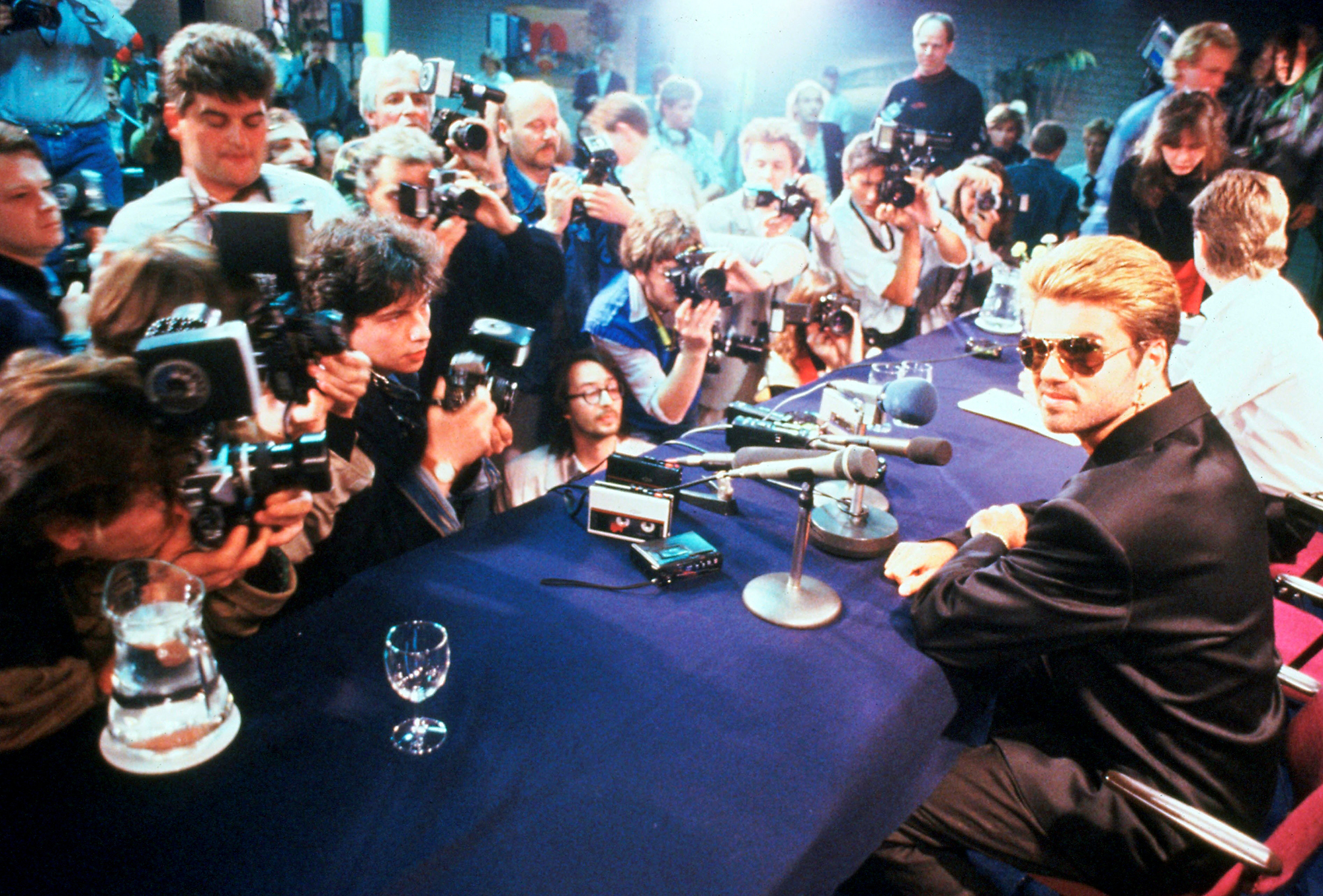 George Michael at a press conference in Japan, March 1988.
