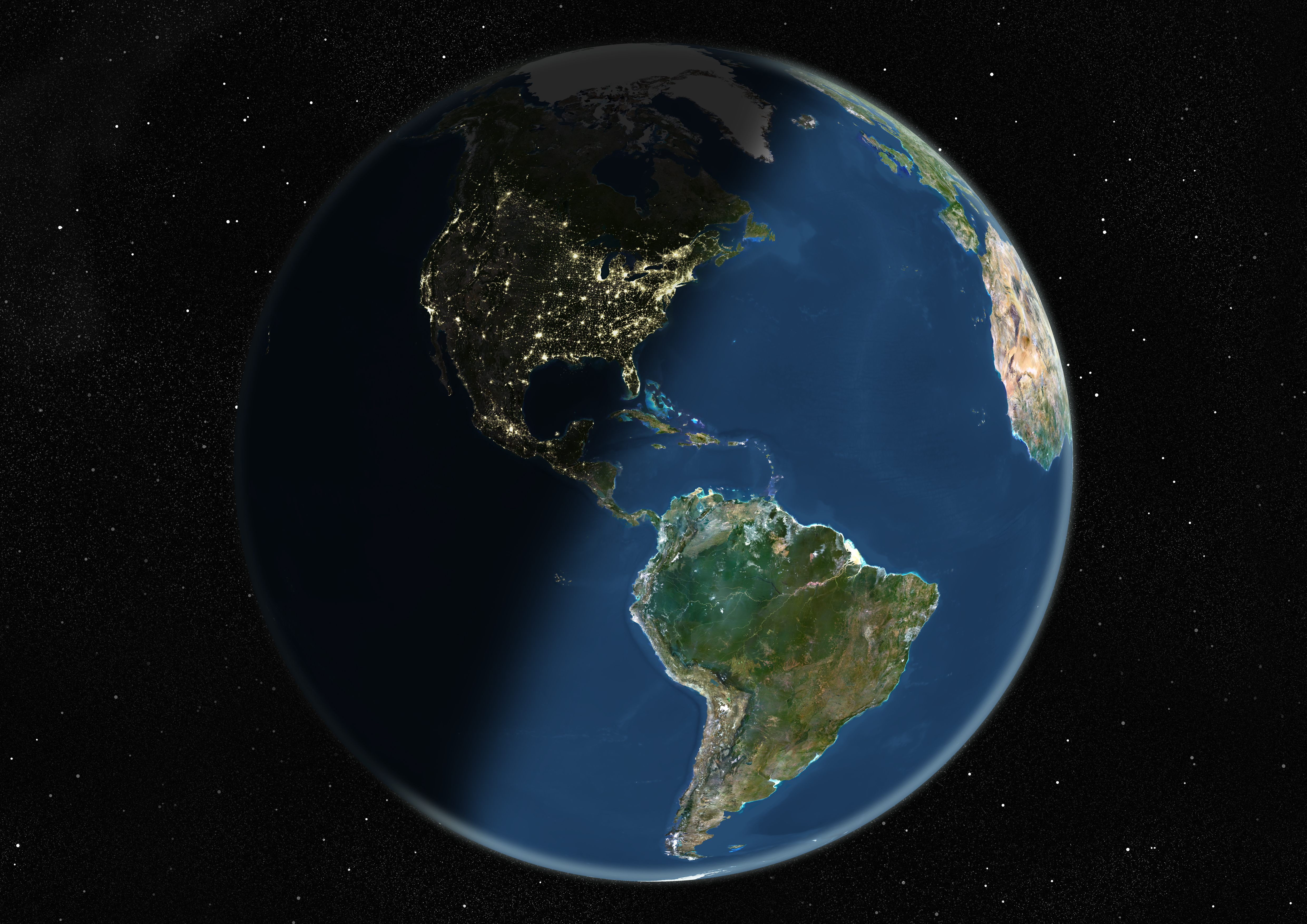 A satellite image of the Earth centered on the Americas, during winter solstice at 12 a.m. GMT. The image was compiled from data acquired by LANDSAT satellites.