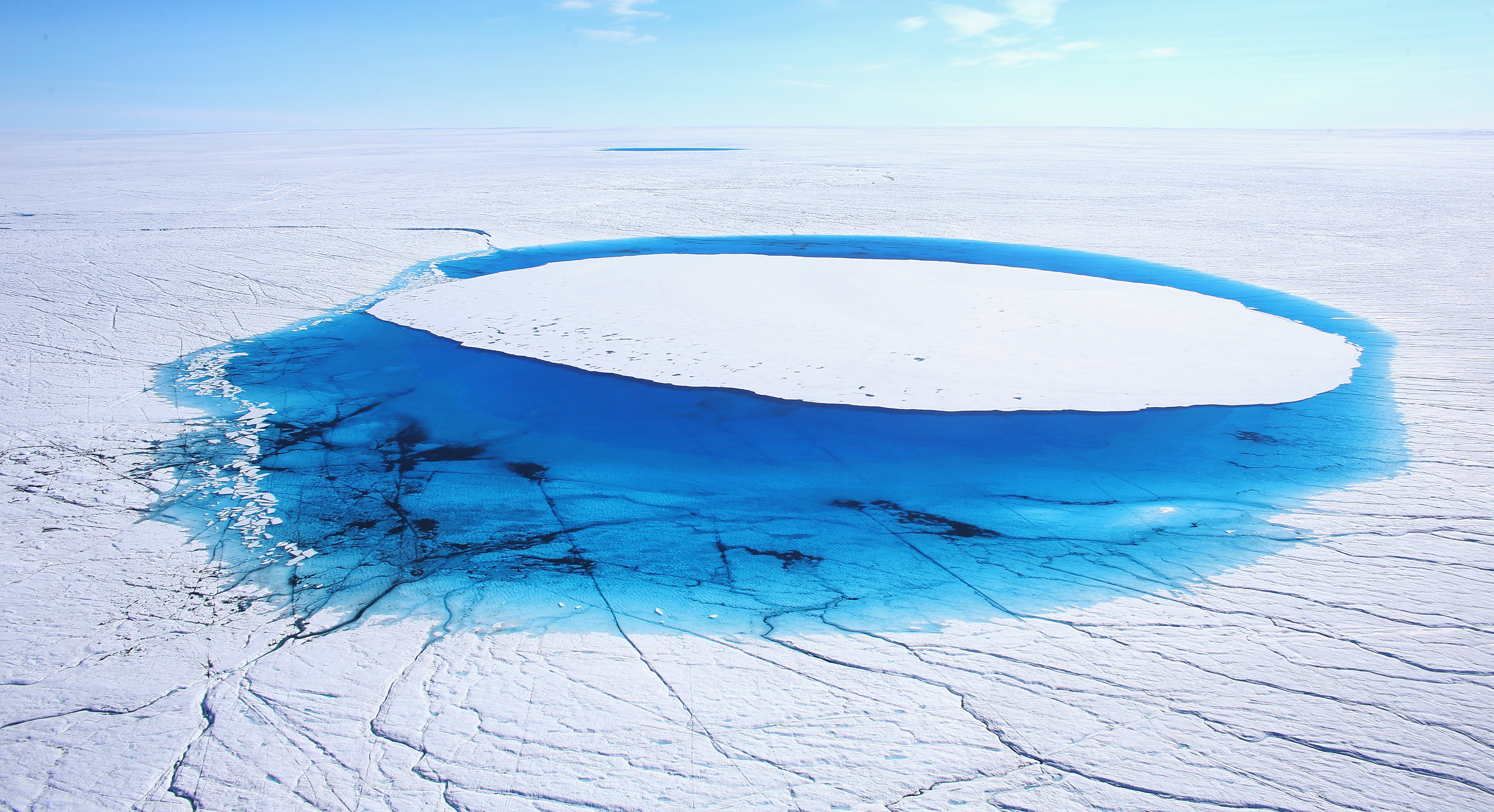 Water is seen on part of the glacial ice sheet that covers about 80 percent of Greenland  on July 17, 2013 on the Glacial Ice Sheet, Greenland.