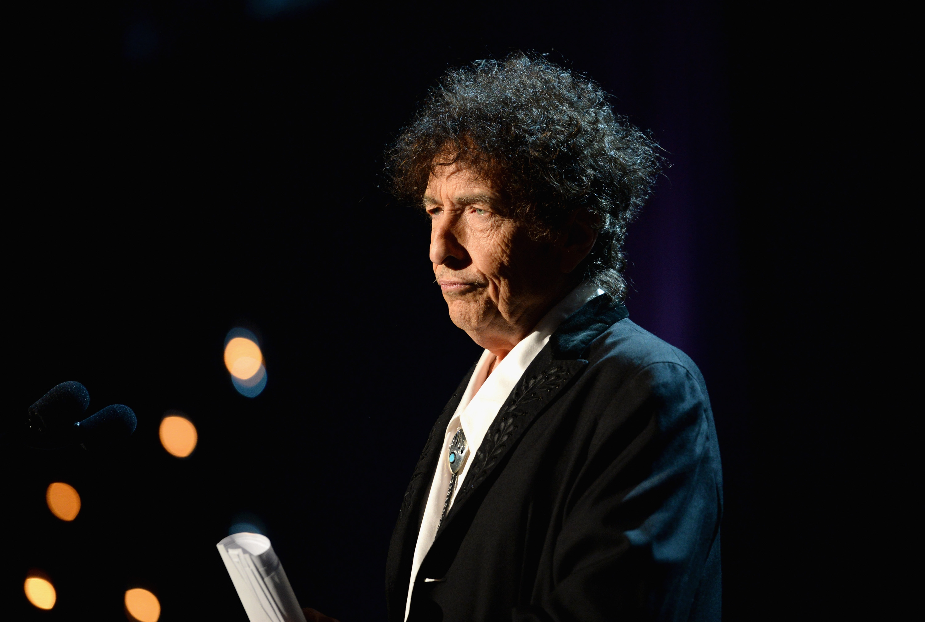 Honoree Bob Dylan speaks onstage at the 25th anniversary MusiCares 2015 Person Of The Year Gala honoring Bob Dylan at the Los Angeles Convention Center on February 6, 2015 in Los Angeles, California. Michael Kovac—WireImage