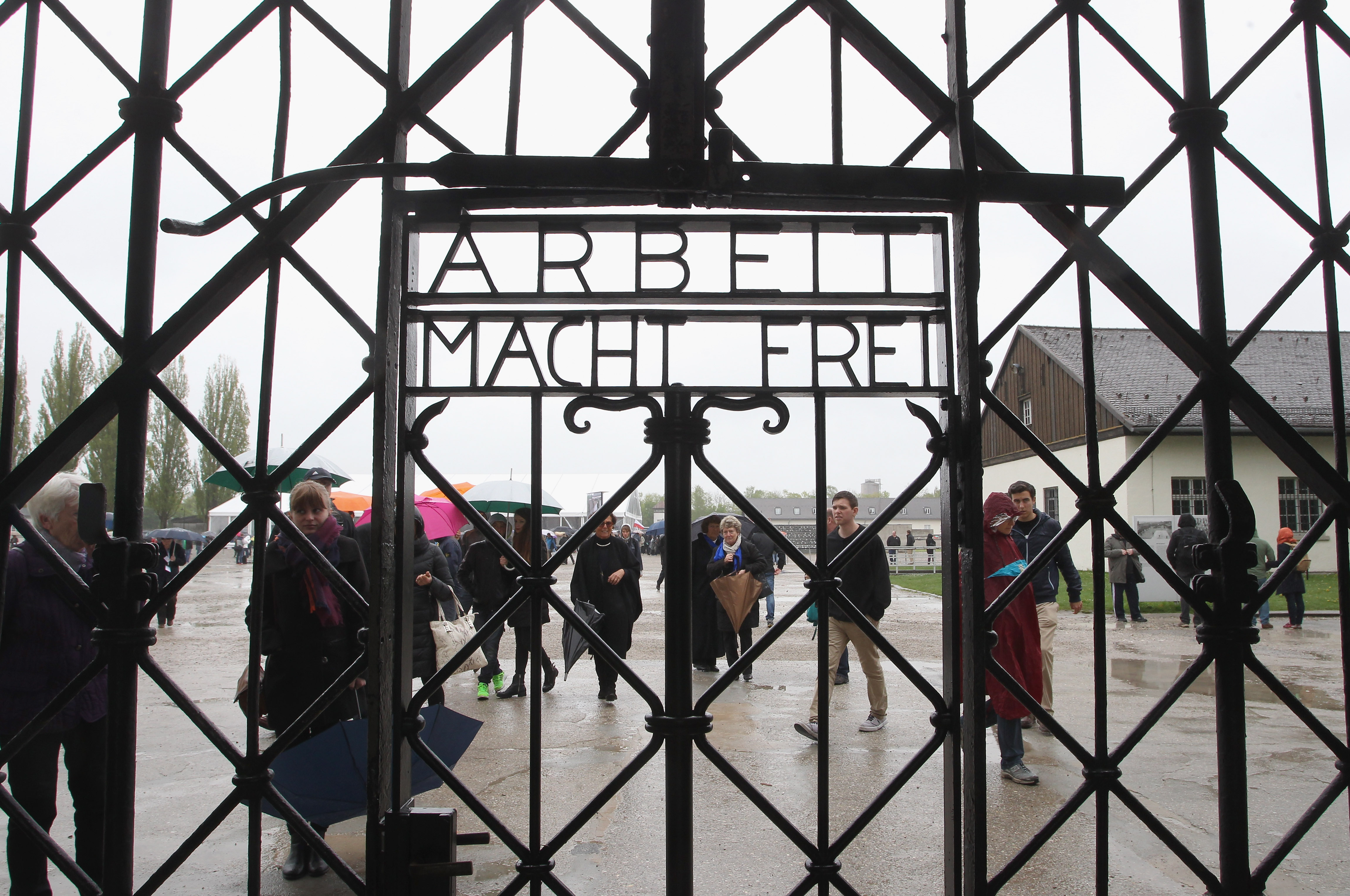 A general view of  entrance gate of the Dachau concentration camp during a ceremony to commemorate the 70th anniversary of the liberation at the memorial site on the grounds of the former concentration camp on May 3, 2015 in Dachau, Germany.