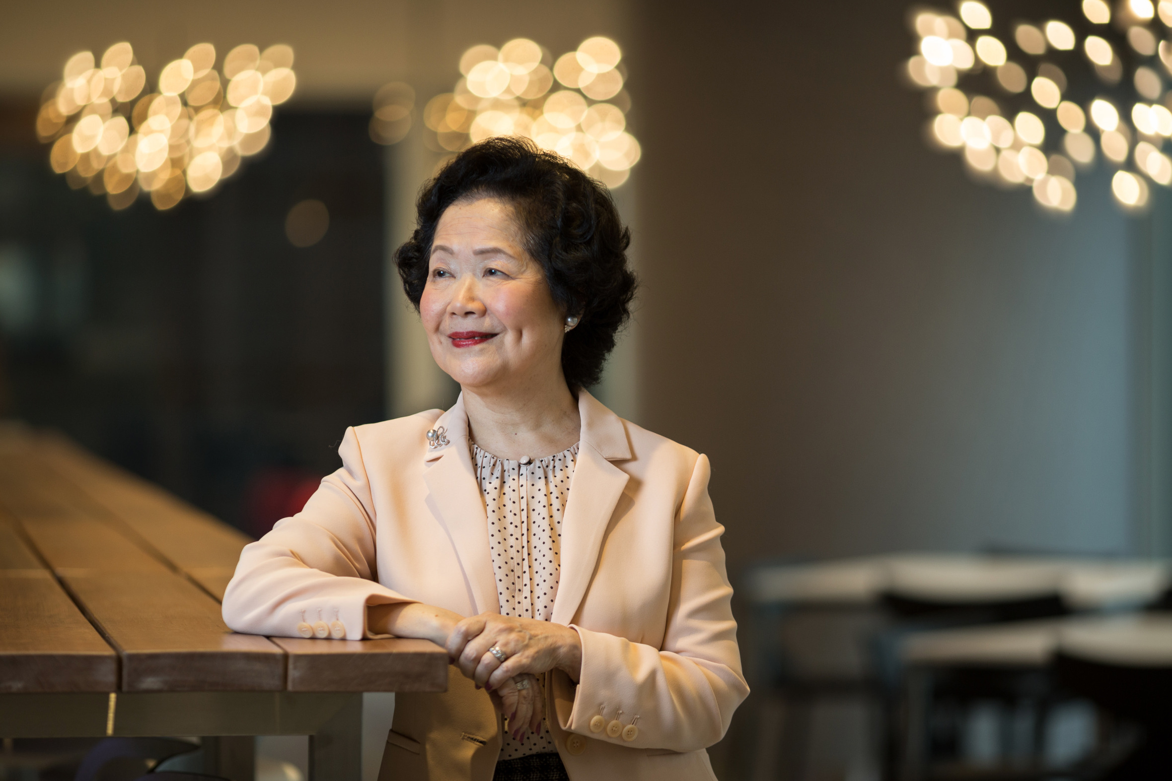 Anson Chan, Hong Kong's former chief secretary, poses for a photograph following a television interview in Hong Kong on June 19, 2015