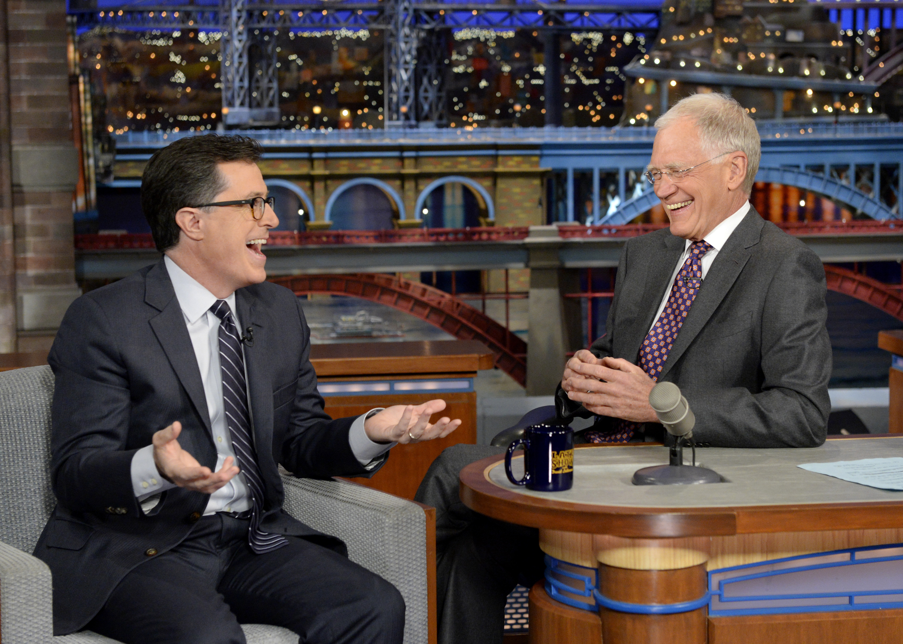 Stephen Colbert talks to David Letterman when Colbert visits the Late Show