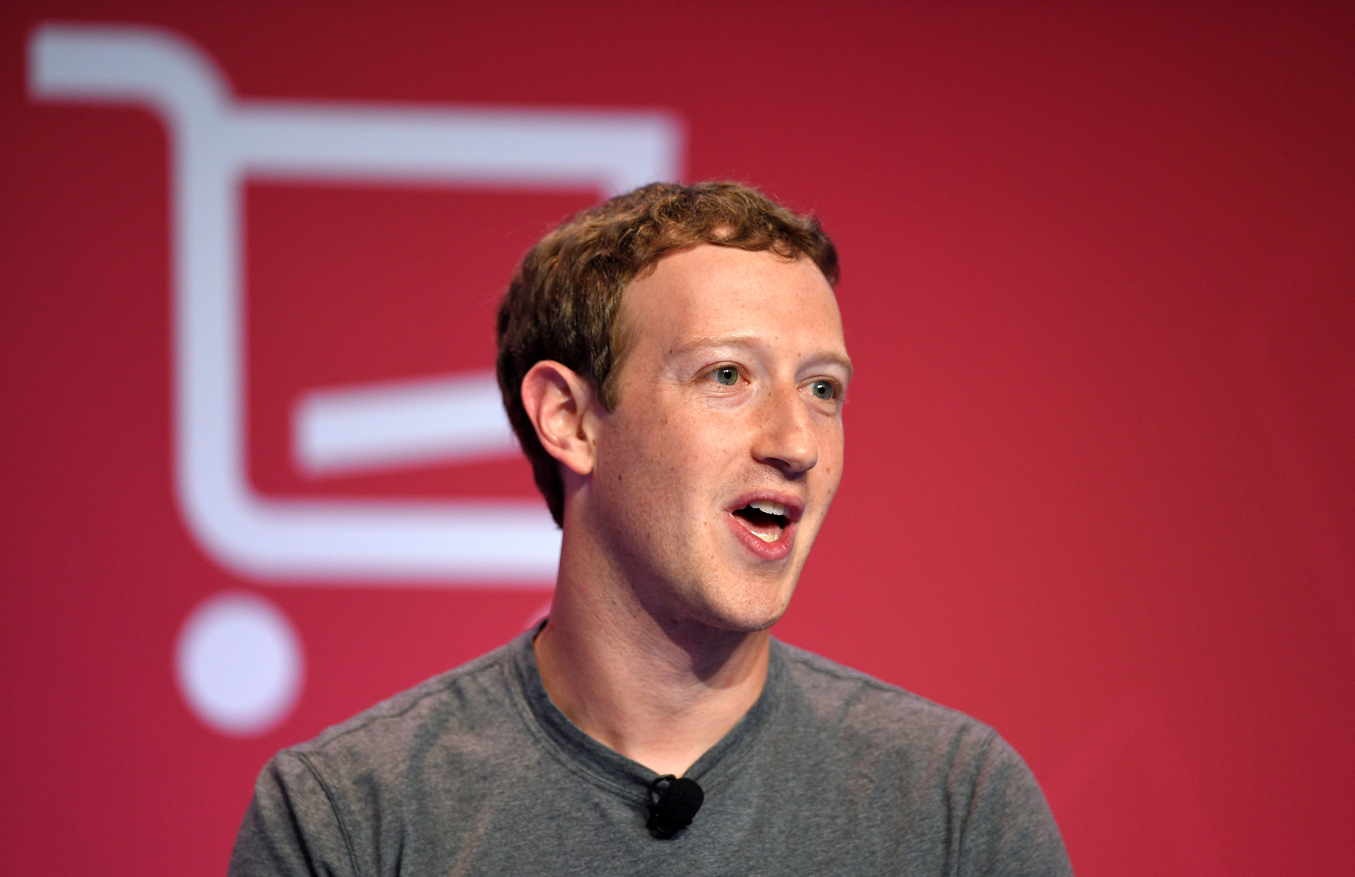 Facebook Chairman, chief executive, and co-founder, Mark Zuckerberg, speaks during a keynote speech at the Mobile World Congress in Barcelona on Feb. 22, 2016.