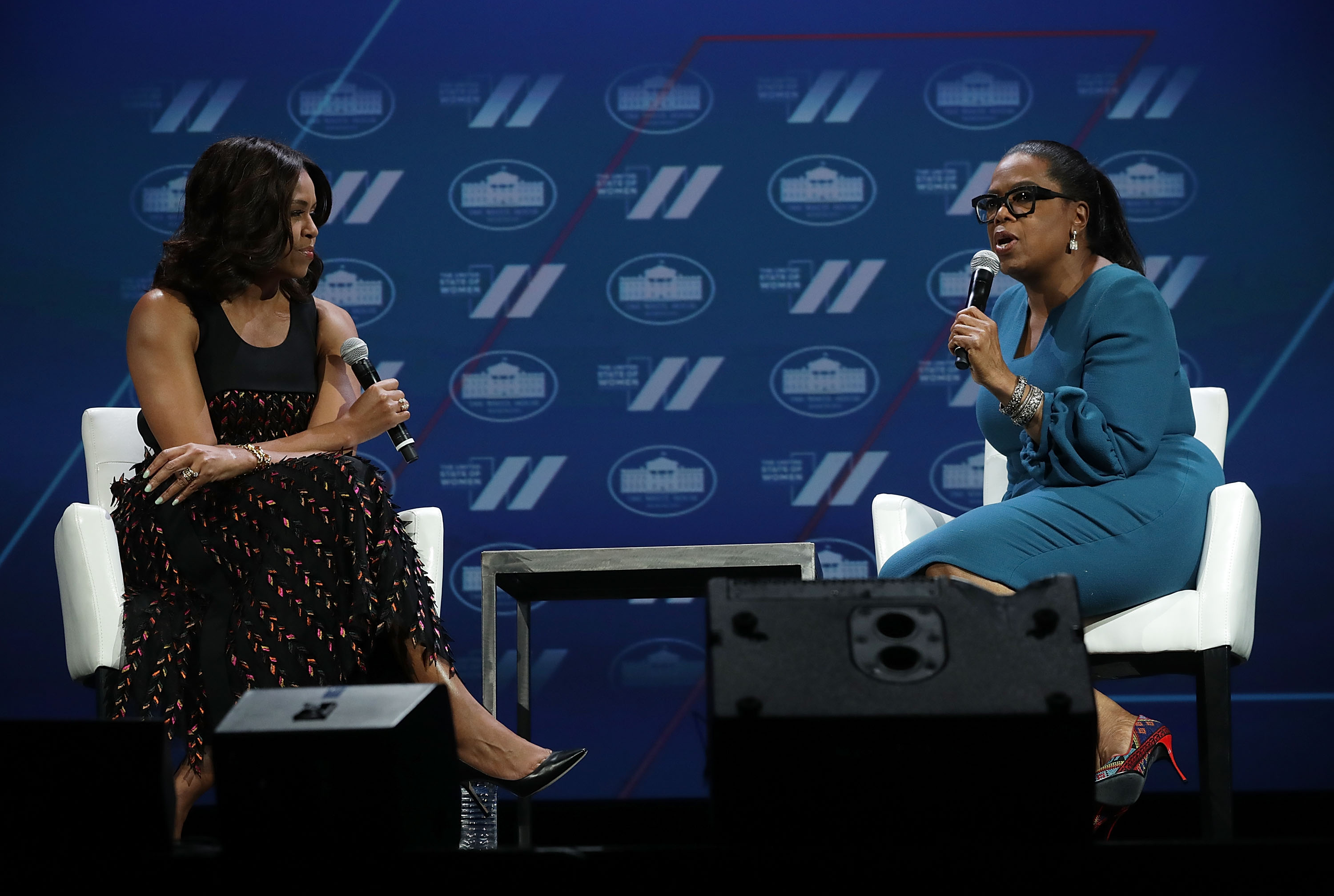 U.S. first lady Michelle Obama (L) and Oprah Winfrey (R) participate in a conversation on  Trailblazing the Path for the Next Generation of Women  during the White House Summit on the United State Of Women June 14, 2016 in Washington, DC. Alex Wong—Getty Images