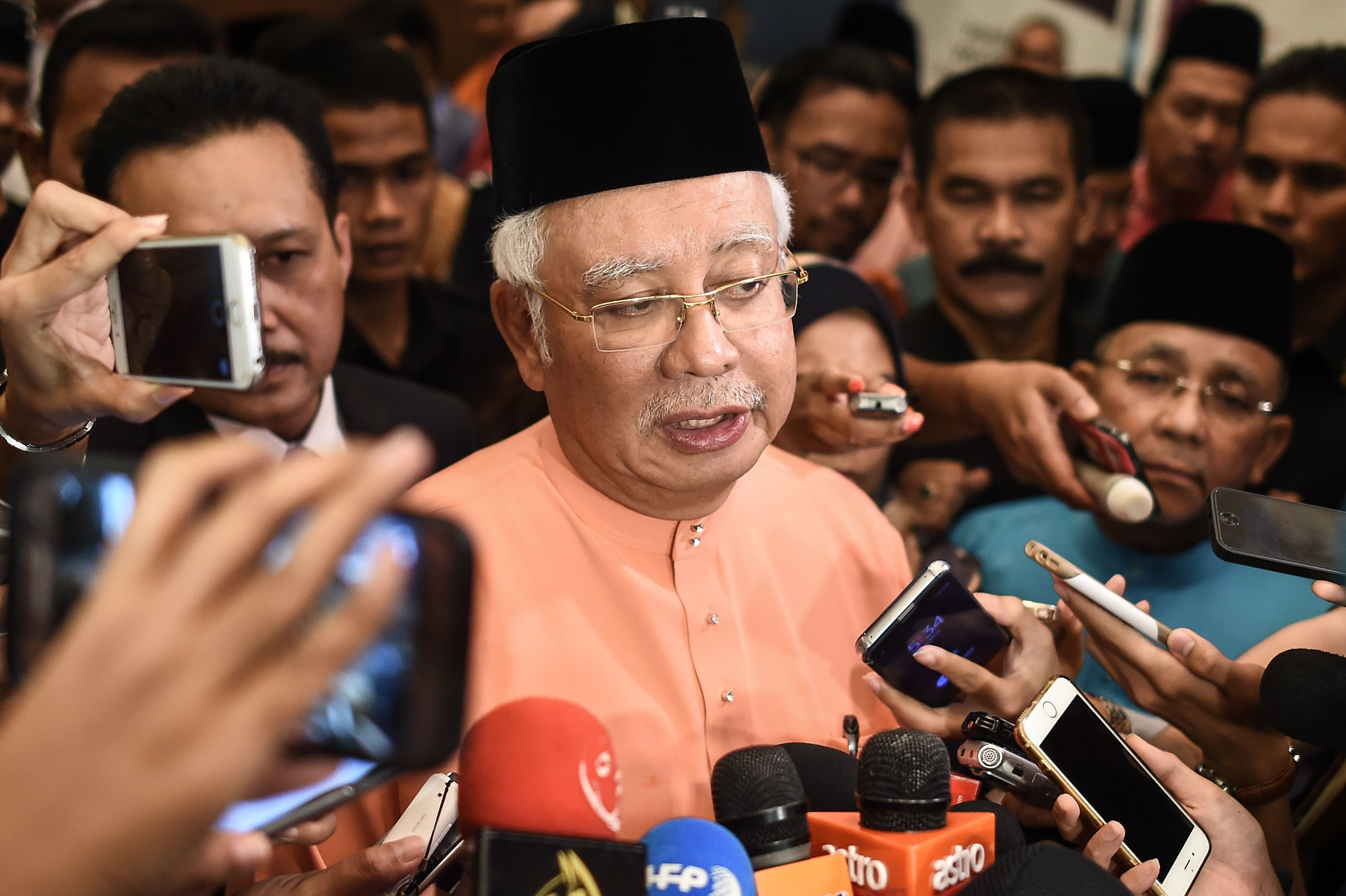 Malaysia's Prime Minister Najib Razak speaks to members of the media after an event in Kuala Lumpur on July 21, 2016