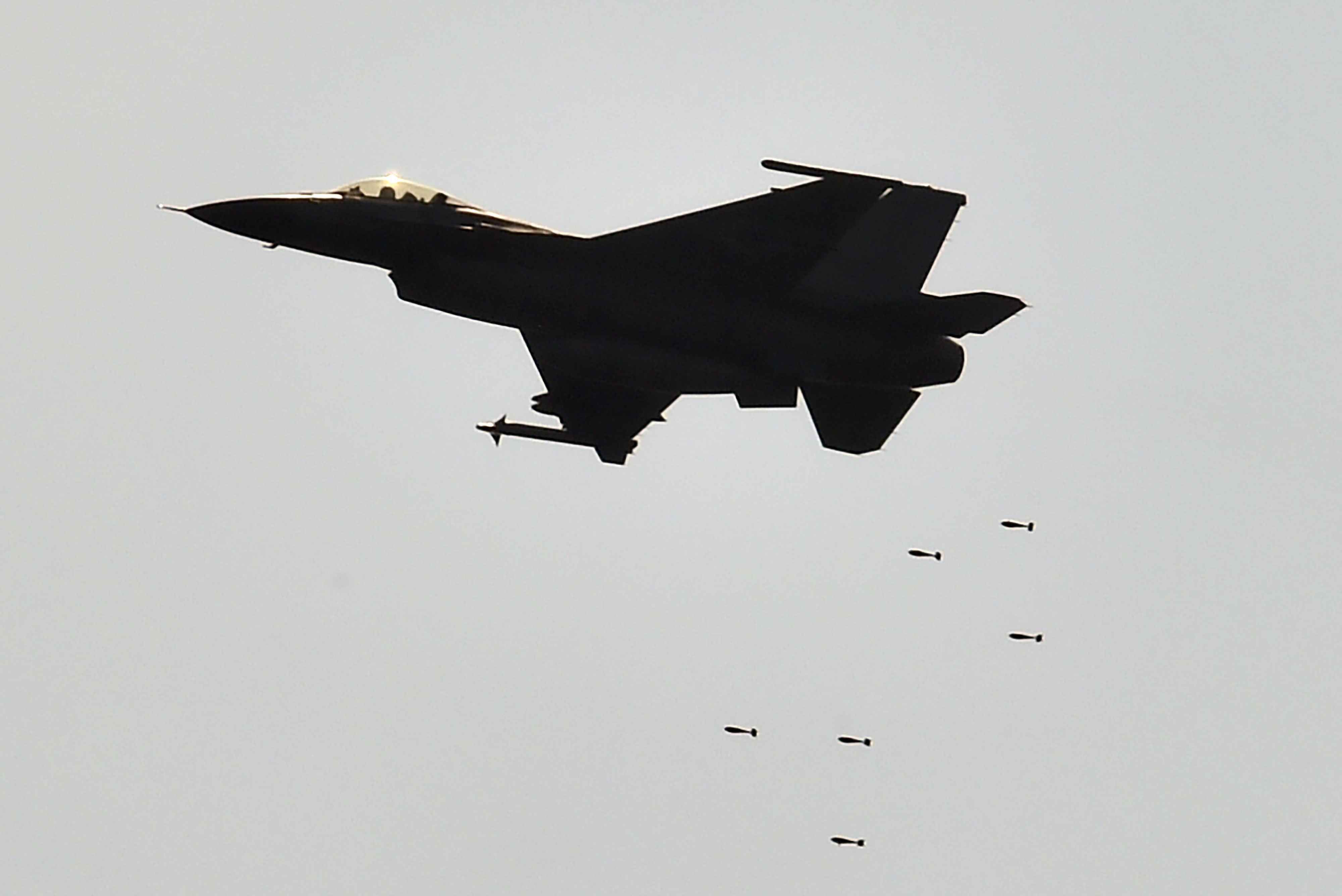 A U.S.-made F-16 fighter drop bombs during the annual Han Guang life-fire drill in southern Pingtung, Taiwan, on Aug. 25, 2016. The U.S. sold $1.8 billion of weapons to Taiwan in 2015