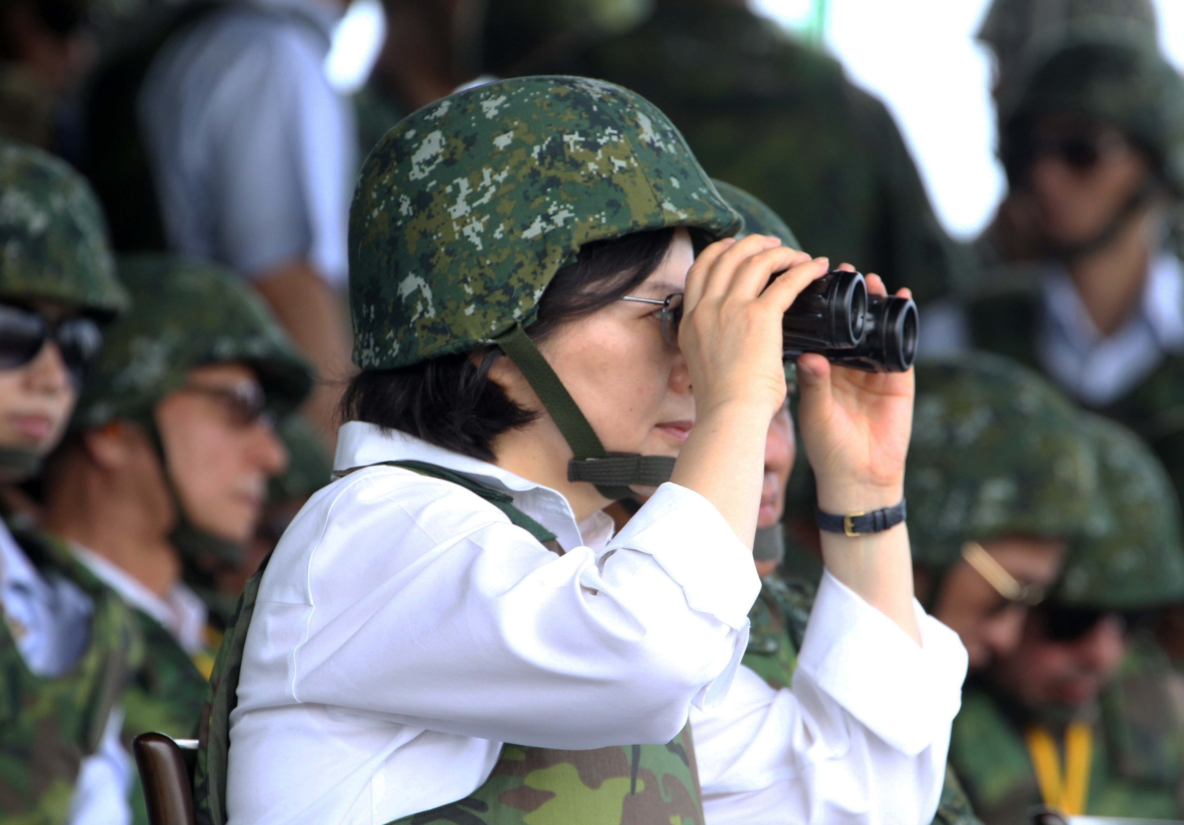 Taiwanese President Tsai Ing-wen watches an annual live-fire drill in in Taiwan on Aug. 25, 2016, amid cooling relations with Beijing