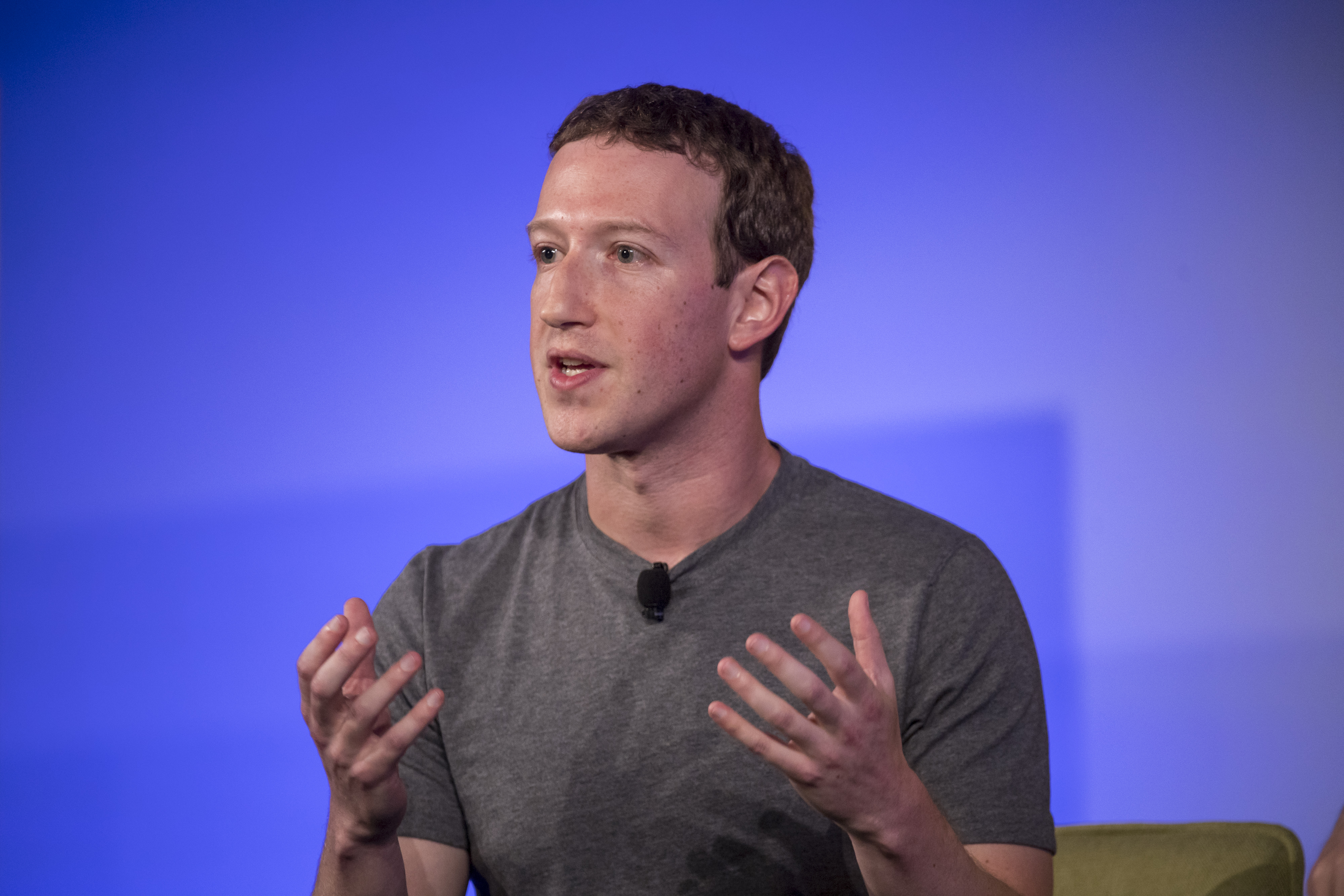 Mark Zuckerberg, chief executive officer and founder of Facebook Inc., at the Techonomy 2016 conference in Half Moon Bay, California, on Nov. 10, 2016.