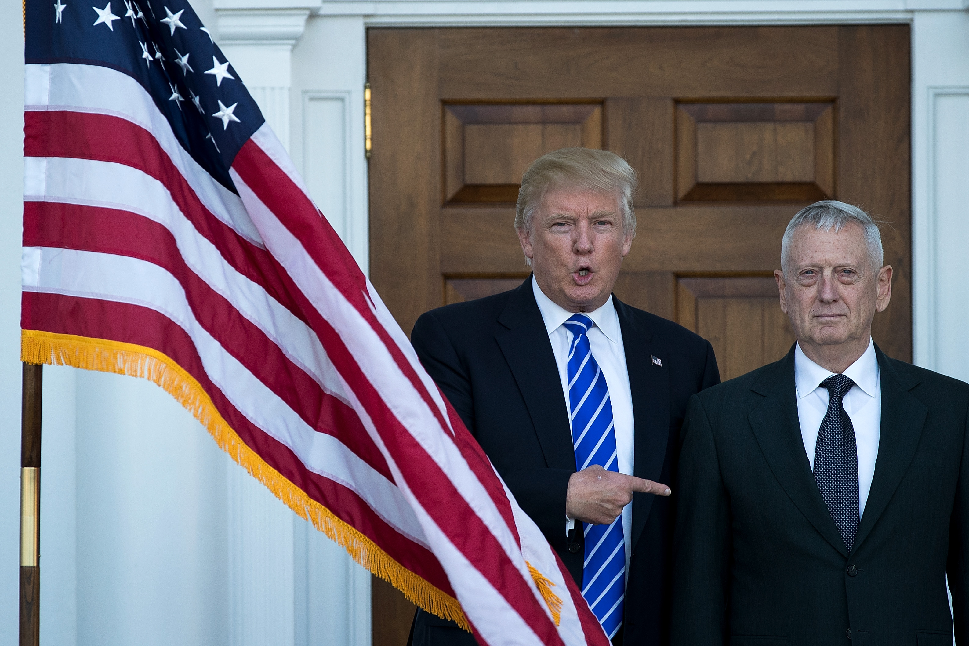 President-elect Donald Trump welcomes retired United States Marine Corps general James Mattis to Trump International Golf Club in Bedminster, N.J.,  November 19, 2016.