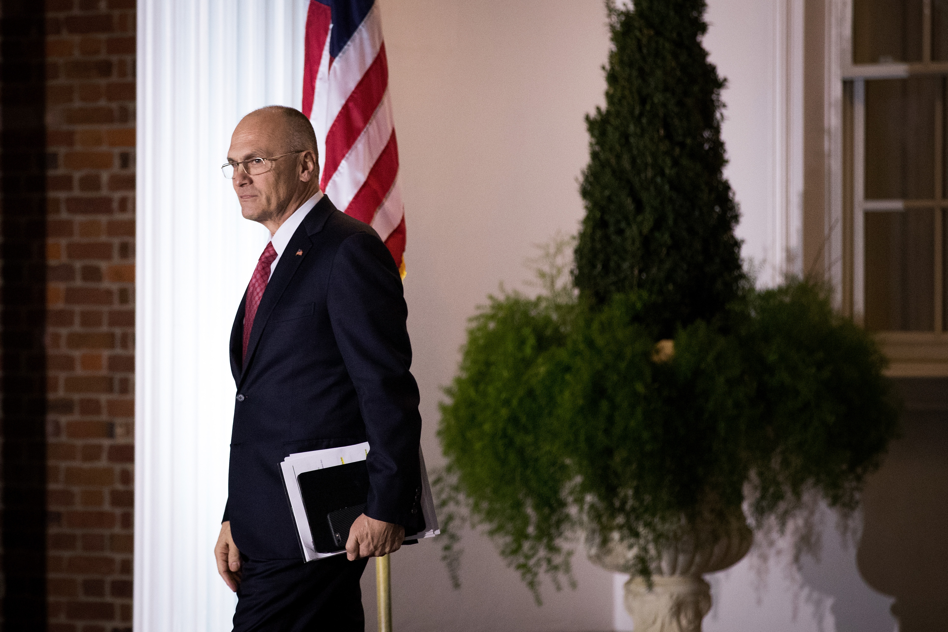 Andrew Puzder, chief executive of CKE Restaurants, exits after his meeting with president-elect Donald Trump at Trump International Golf Club, November 19, 2016 in Bedminster Township, New Jersey. (Photo by Drew Angerer--Getty Images)