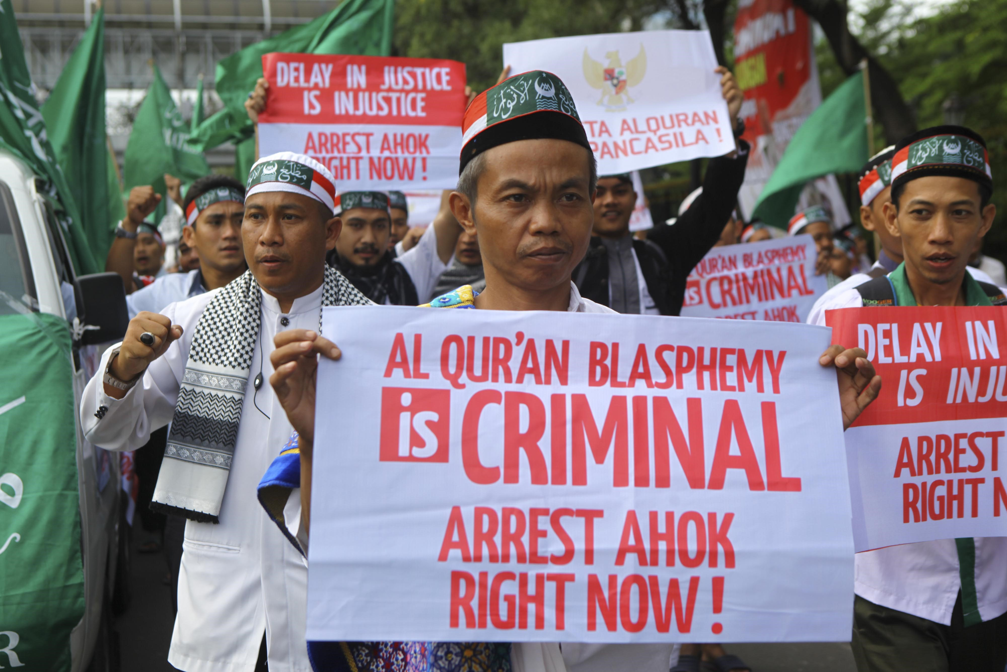 Hundreds of thousands of Indonesian Muslims in Jakarta on Dec. 2, 2016, hold a peaceful protest against the Jakarta governor who is accused of insulting Islam. The protesters demand the acceleration of legal proceedings against Governor Basuki  Ahok  Tjahaja Purnama