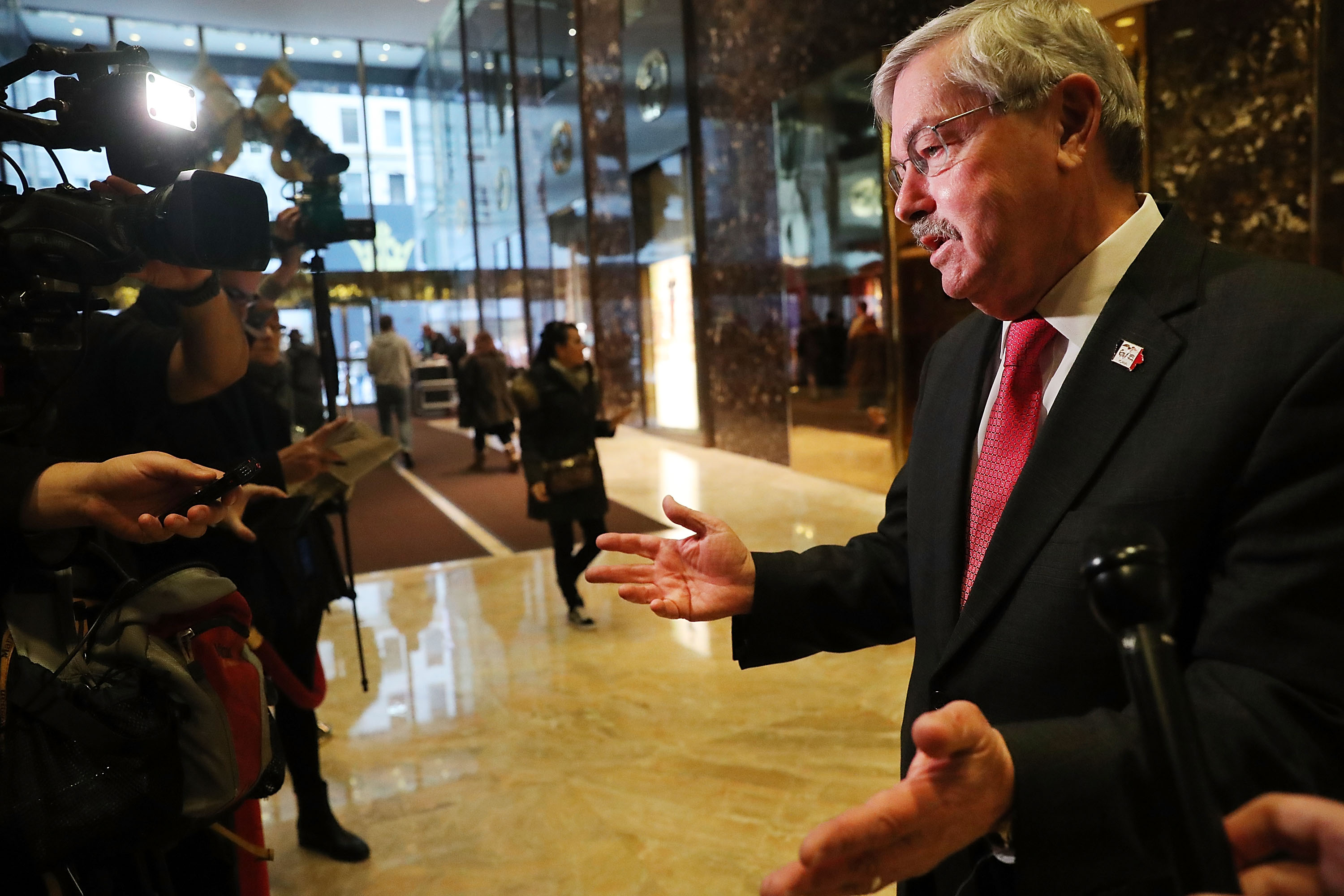 Iowa Gov. Terry Branstad speaks with members of the media at Trump Tower following meetings on December 6, 2016 in New York City.