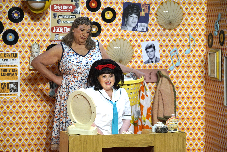 Harvey Fierstein as Edna Turnblad, Maddie Baillio as Tracy Turnblad in 'Hairspray Live' on NBC.