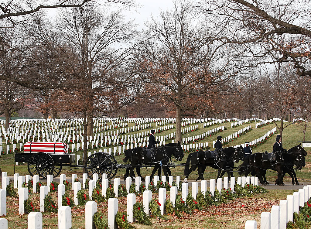 Dec. 19, 2016. Air Force Major Troy Gilbert is brought to his gravesite at Arlington National Cemetery Monday for the third, and last, time.