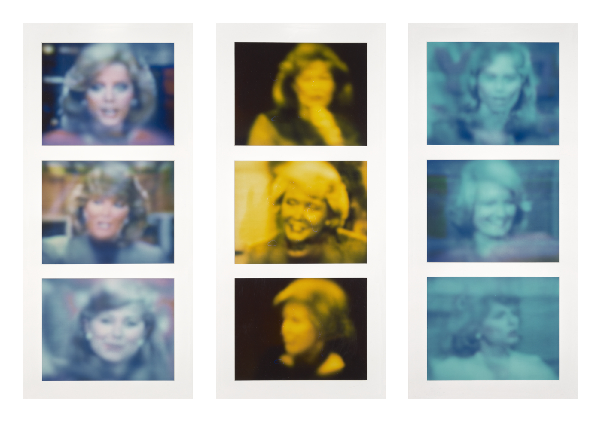 Nine photographs from the series TV Network Newswoman Videograms, 1984