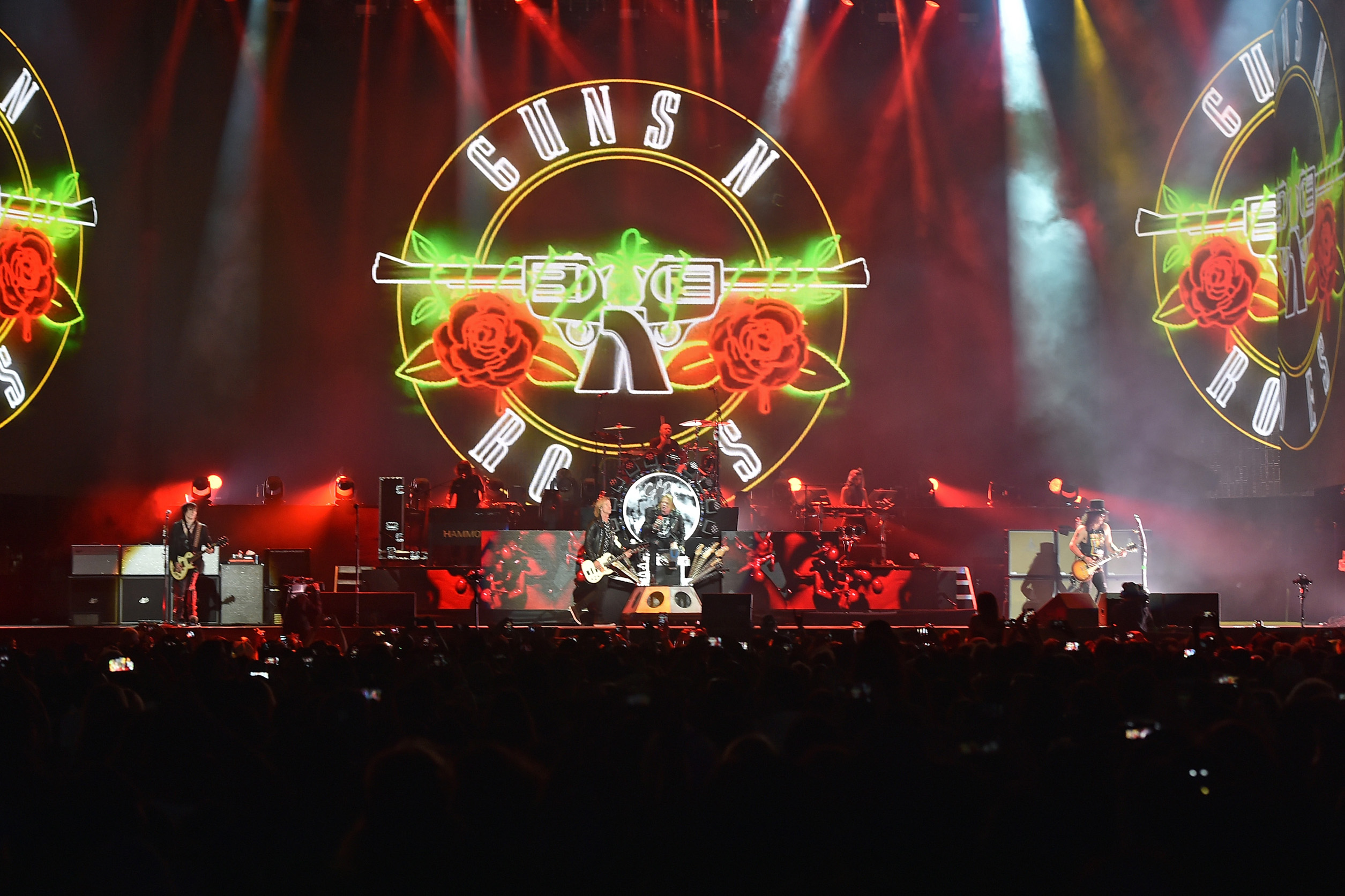 Guns N' Roses perform onstage during day 2 of the 2016 Coachella Valley Music—Arts Festival Weekend at the Empire Polo Club in Indio, California on April 23, 2016.
